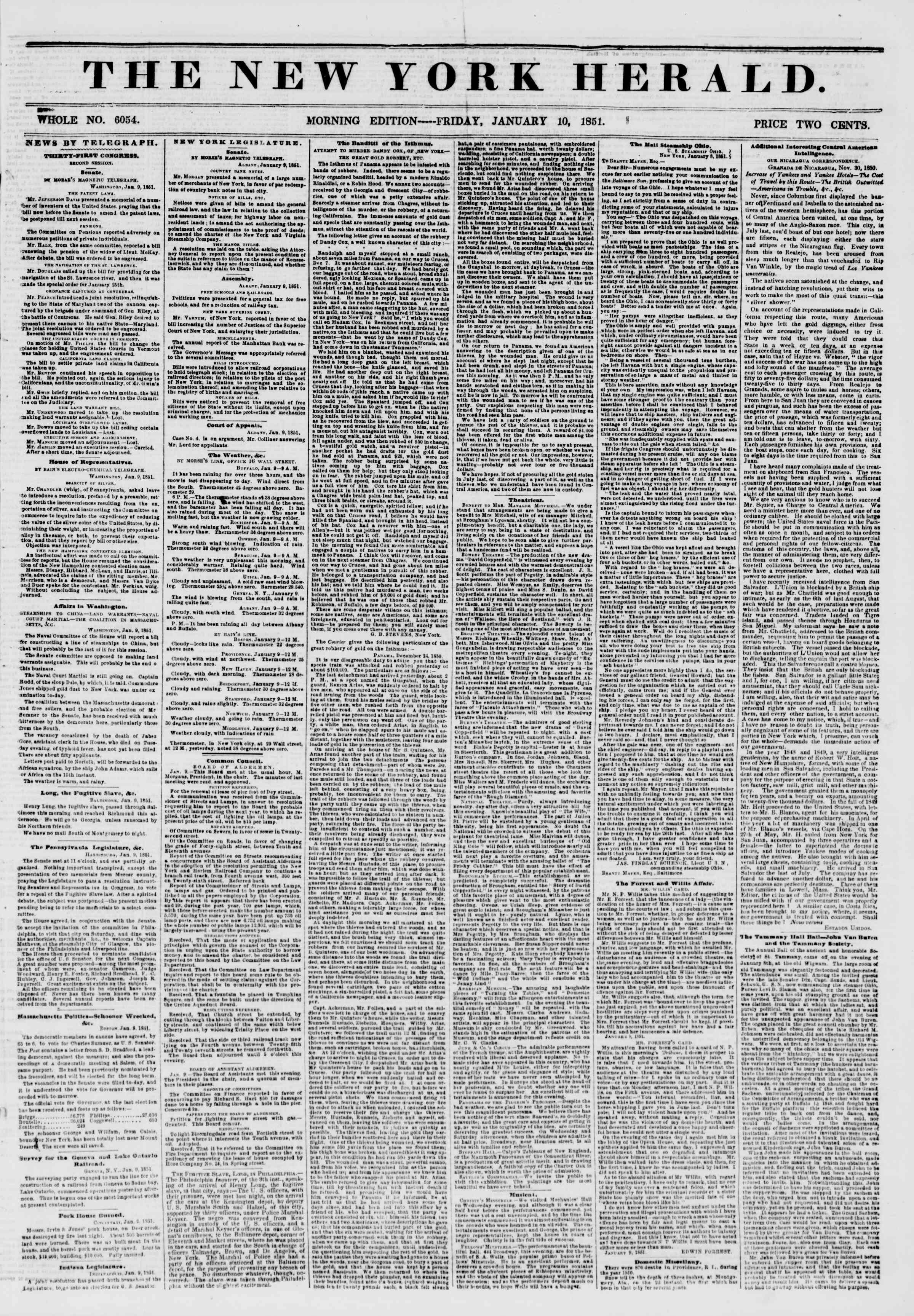 Newspaper of The New York Herald dated January 10, 1851 Page 1