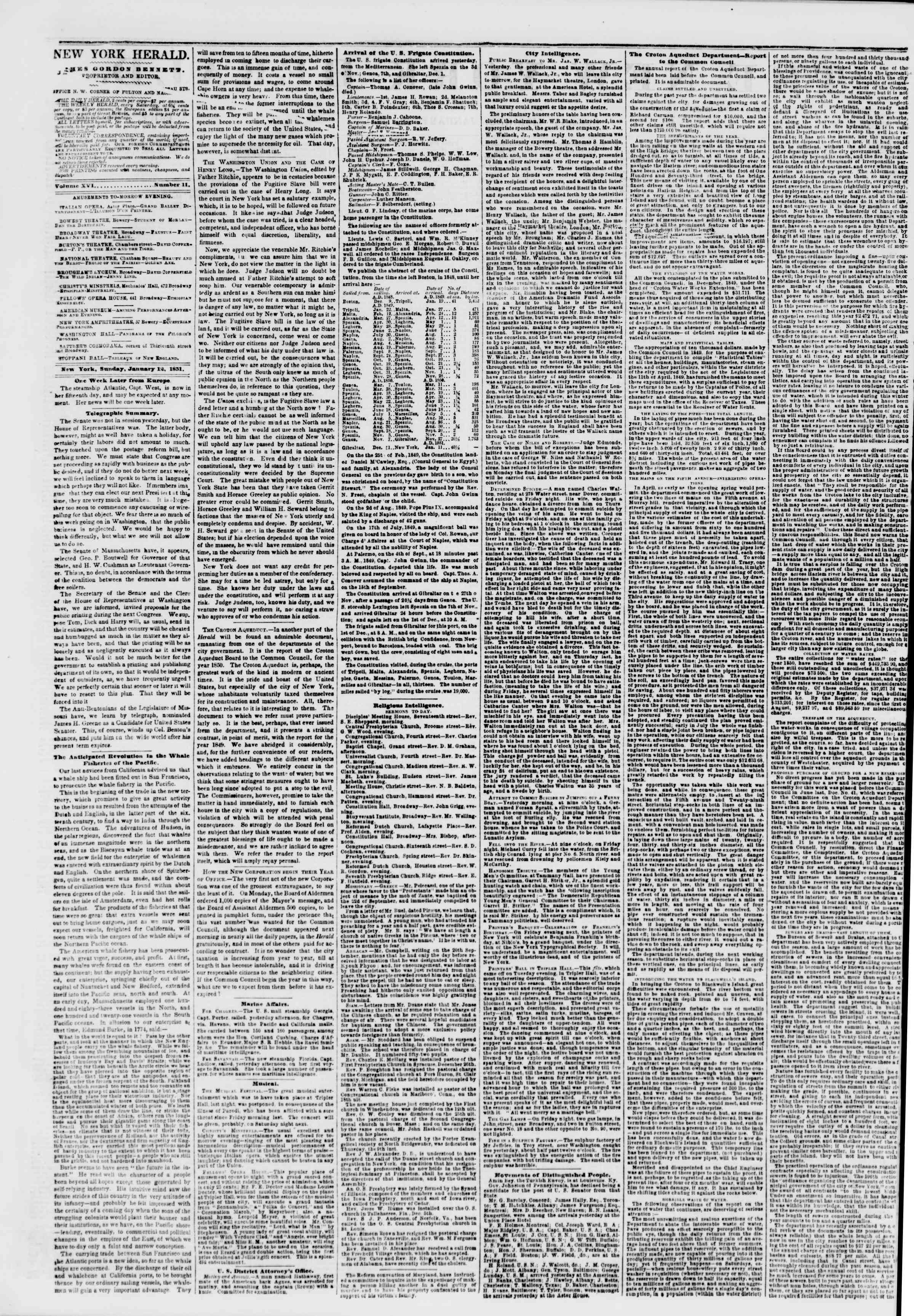Newspaper of The New York Herald dated January 12, 1851 Page 2