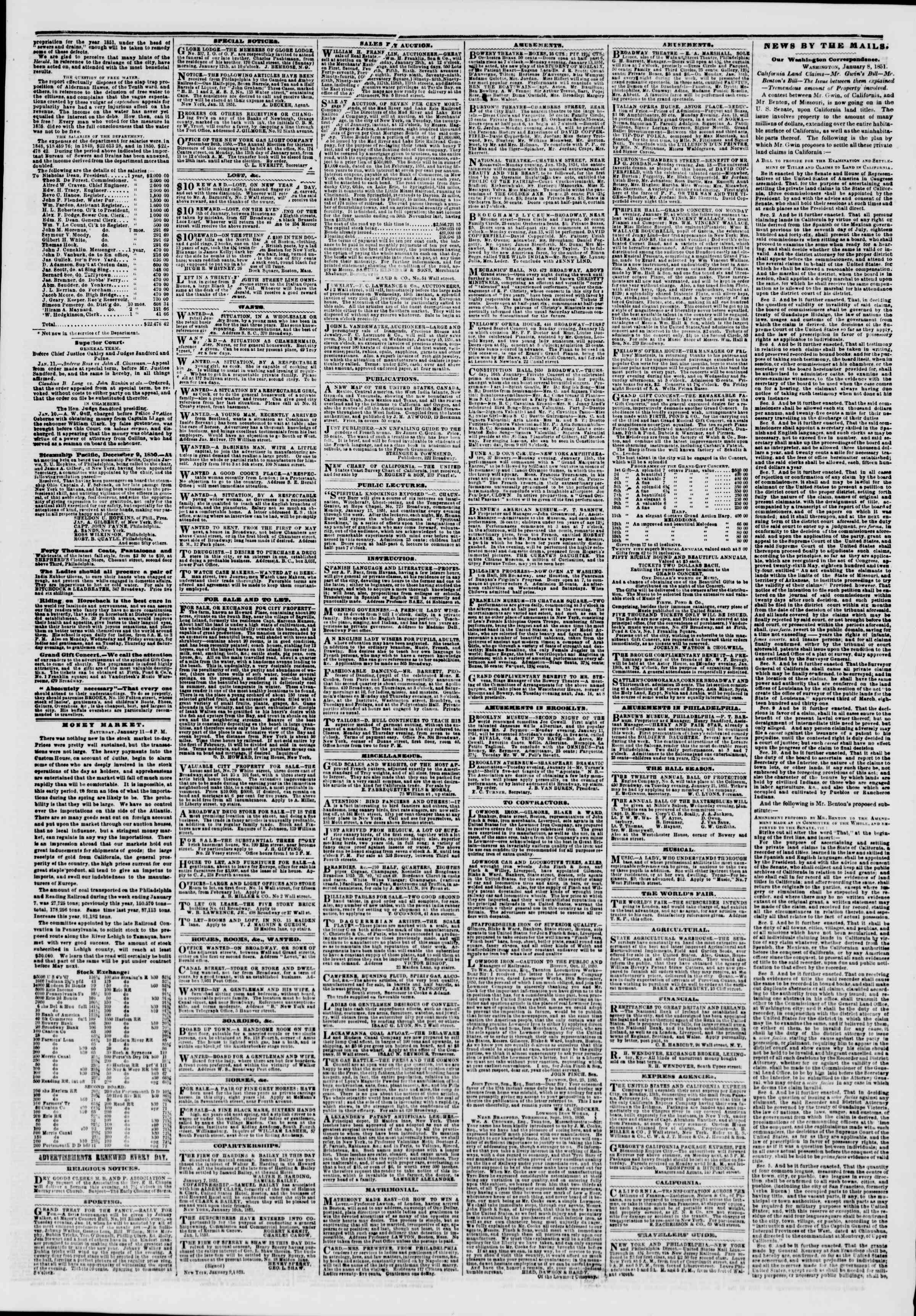Newspaper of The New York Herald dated January 12, 1851 Page 3
