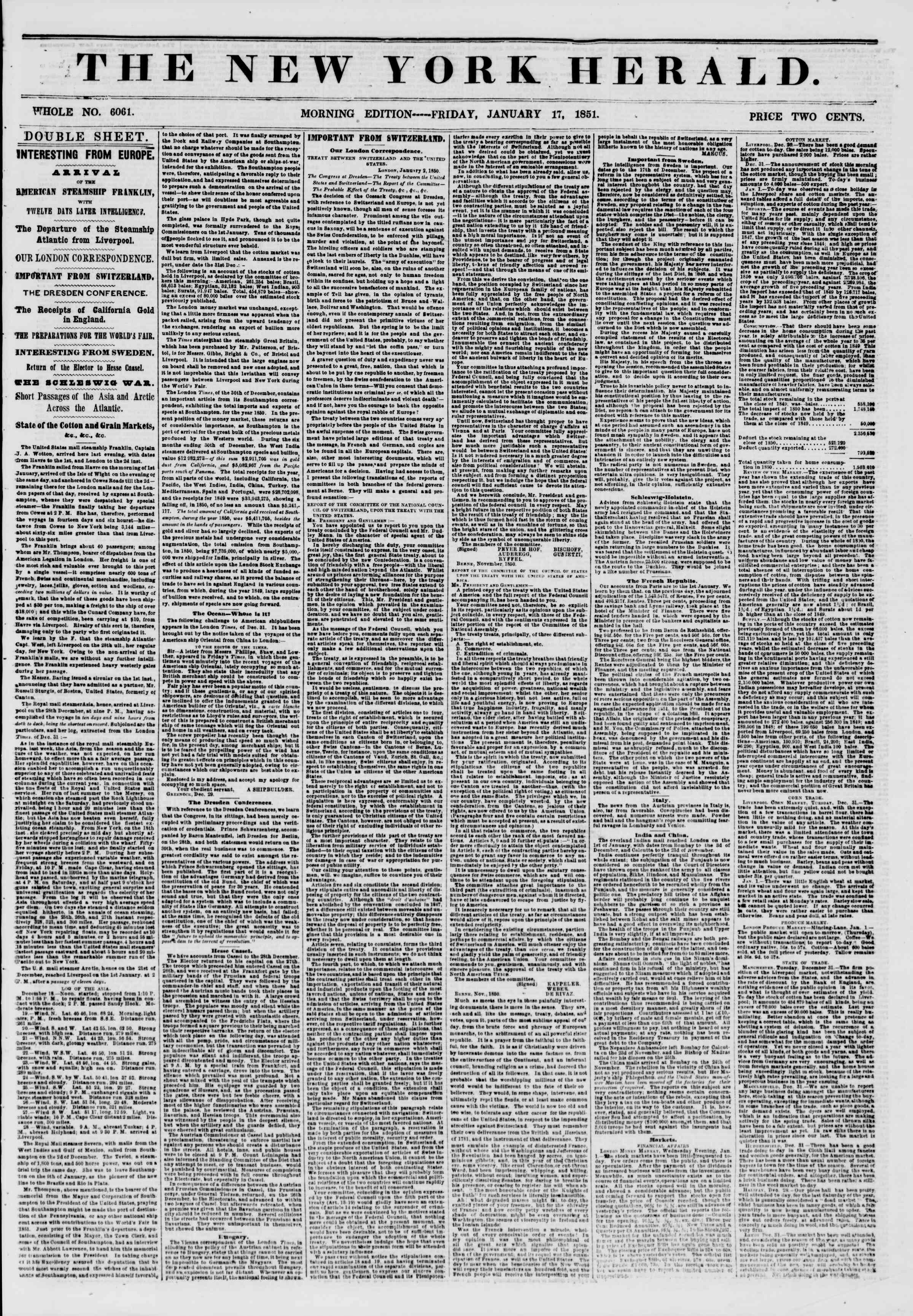 Newspaper of The New York Herald dated January 17, 1851 Page 1