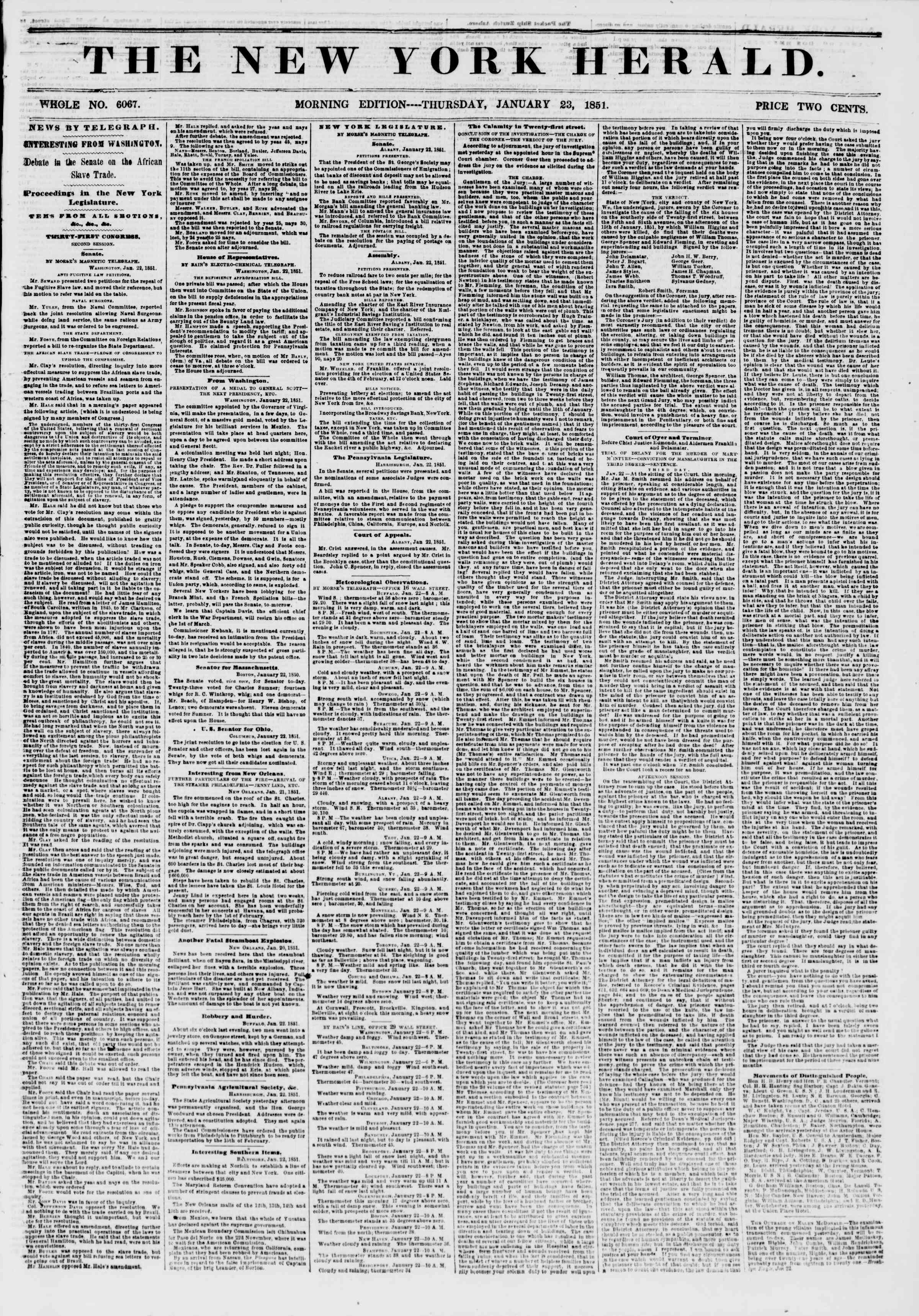 Newspaper of The New York Herald dated January 23, 1851 Page 1