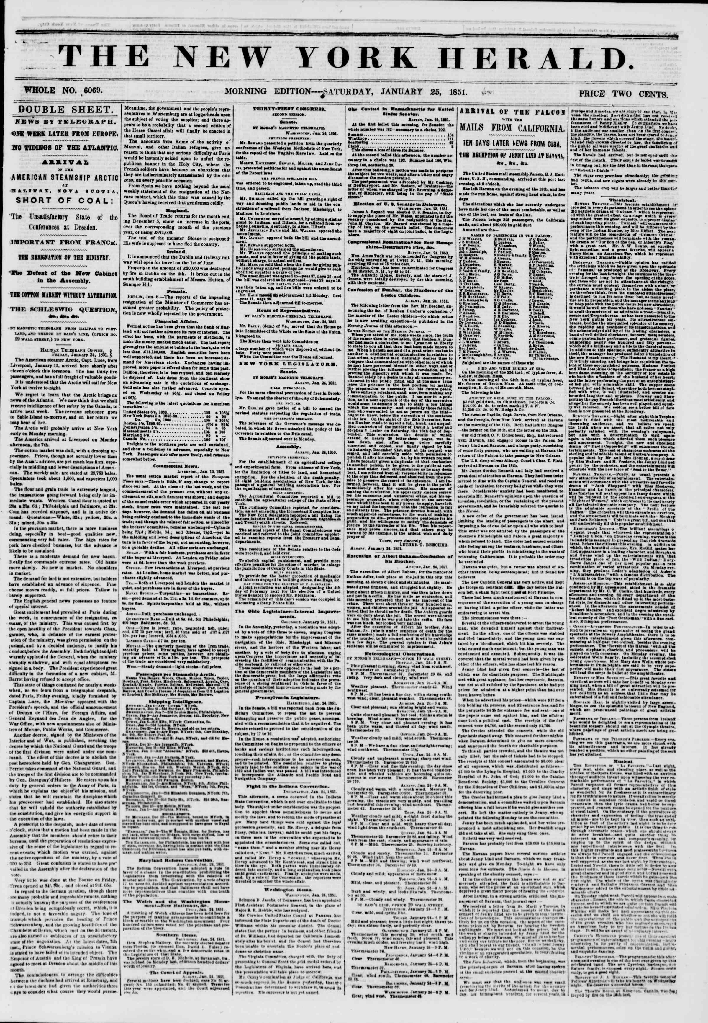 Newspaper of The New York Herald dated January 25, 1851 Page 1