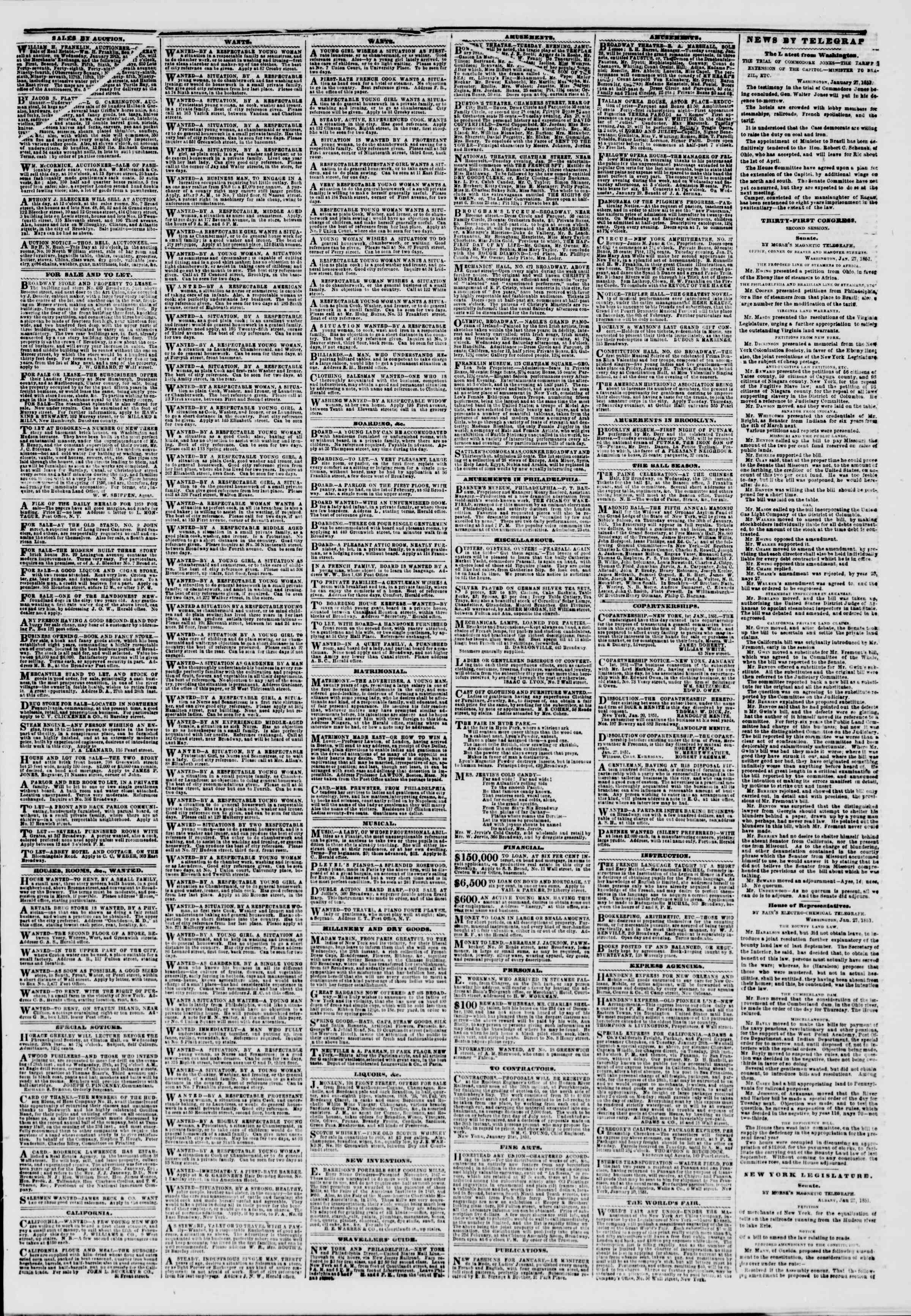 Newspaper of The New York Herald dated January 28, 1851 Page 3