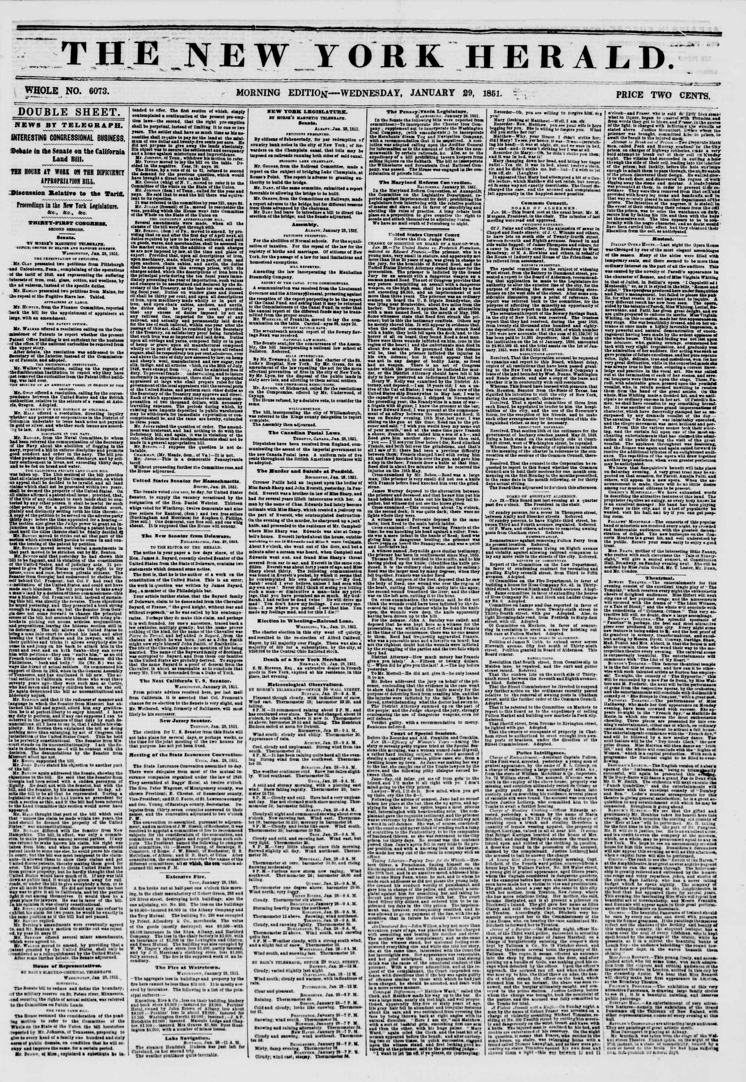 Newspaper of The New York Herald dated January 29, 1851 Page 1