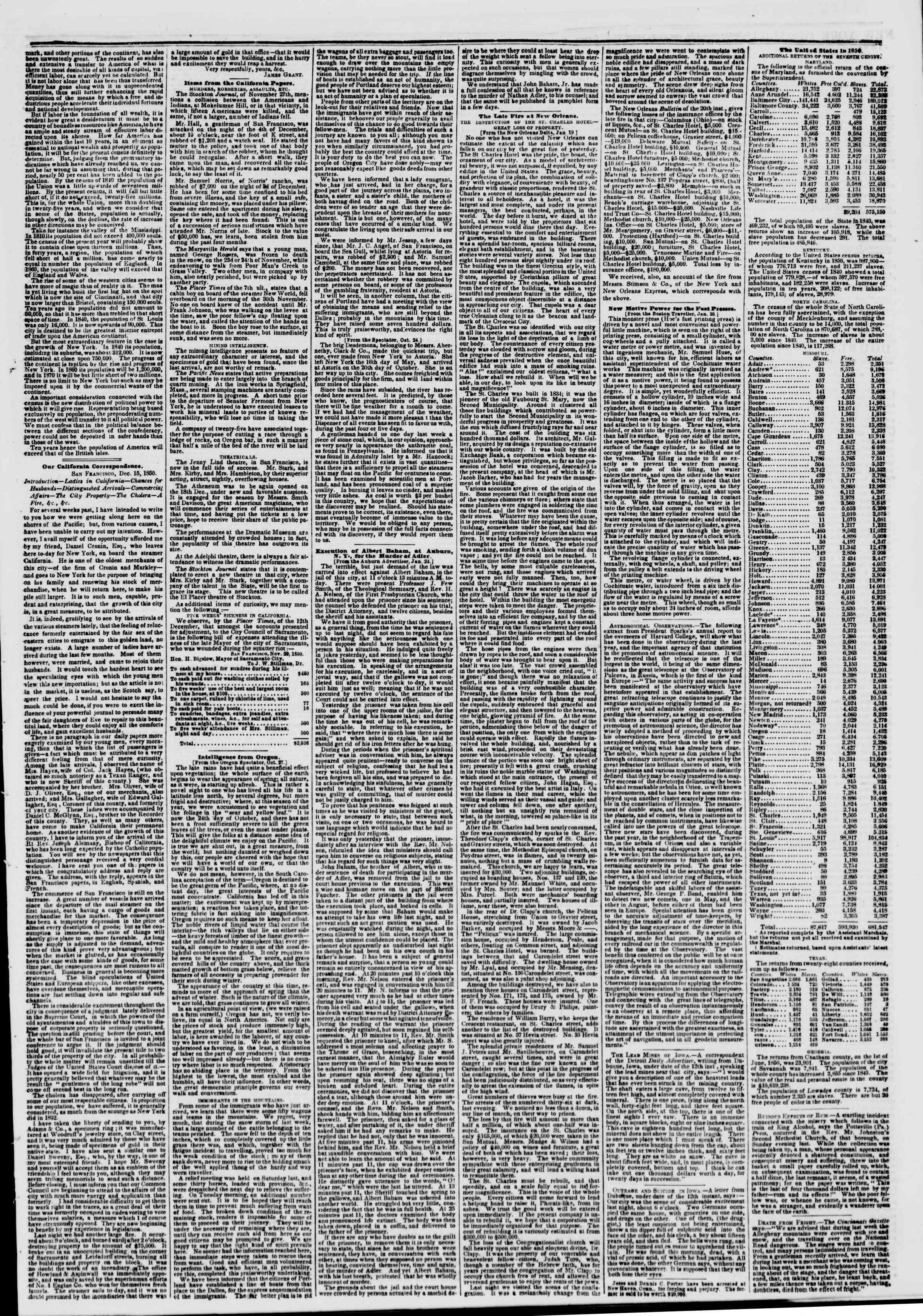 Newspaper of The New York Herald dated January 29, 1851 Page 3