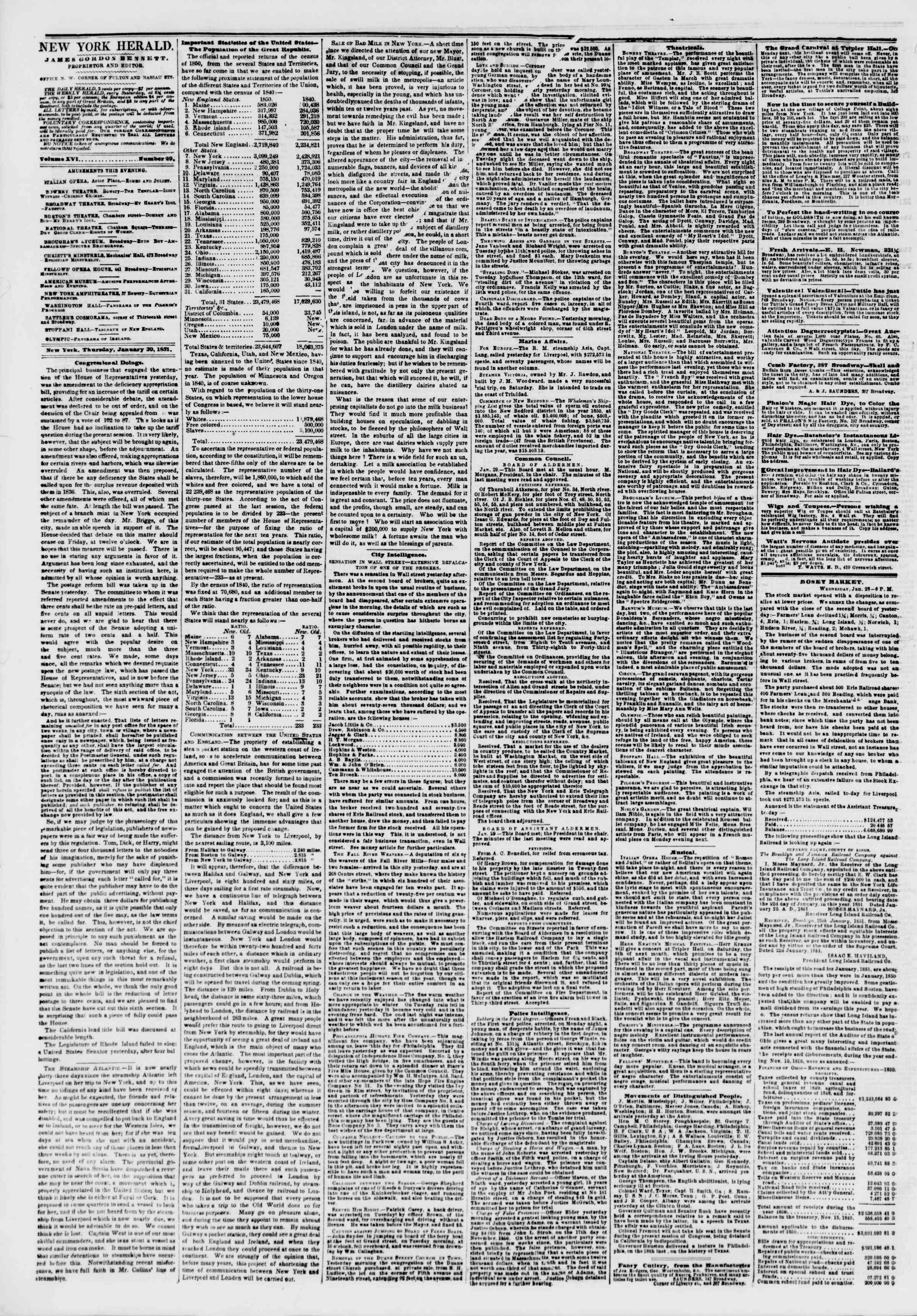 Newspaper of The New York Herald dated January 30, 1851 Page 2