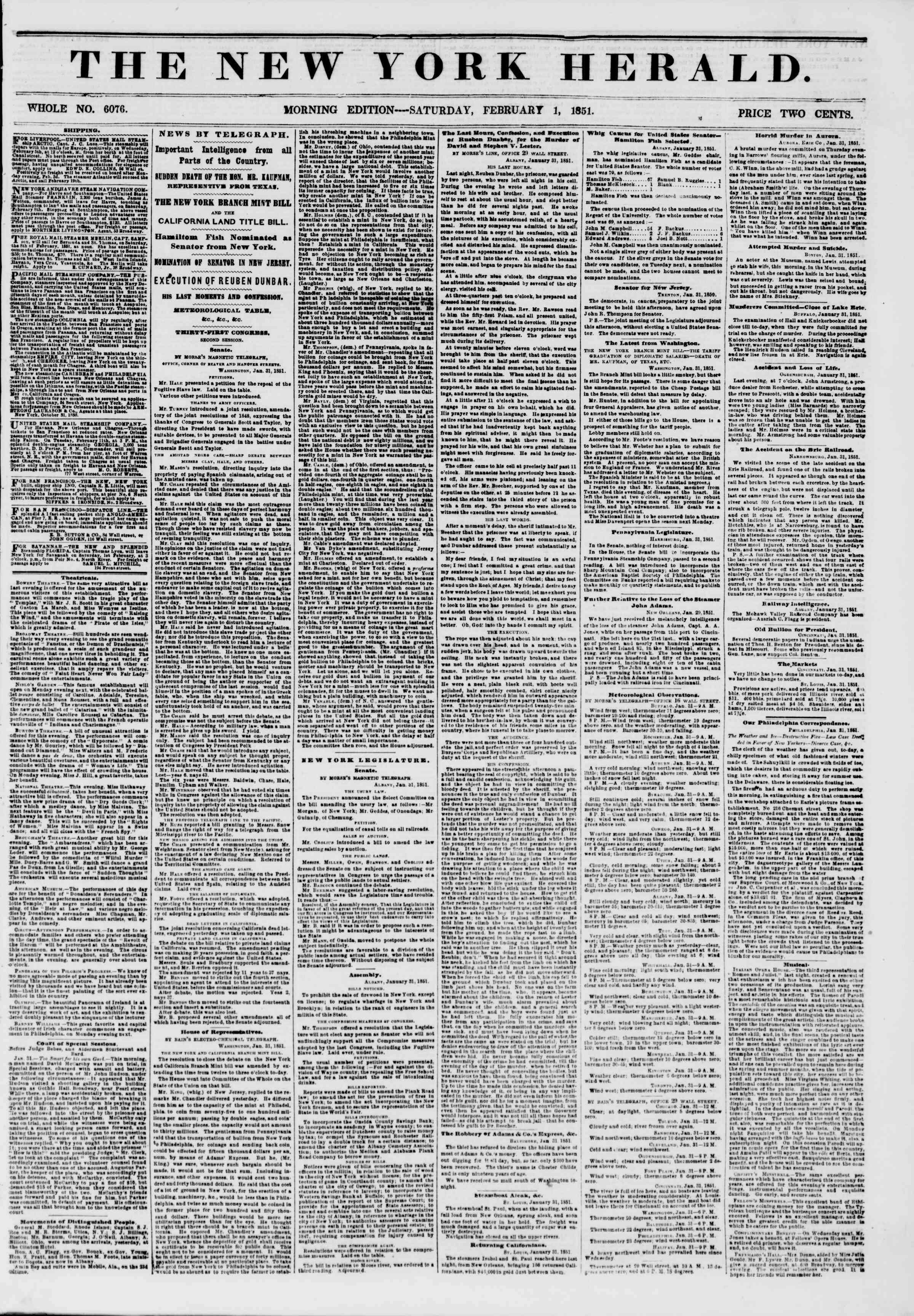 Newspaper of The New York Herald dated February 1, 1851 Page 1