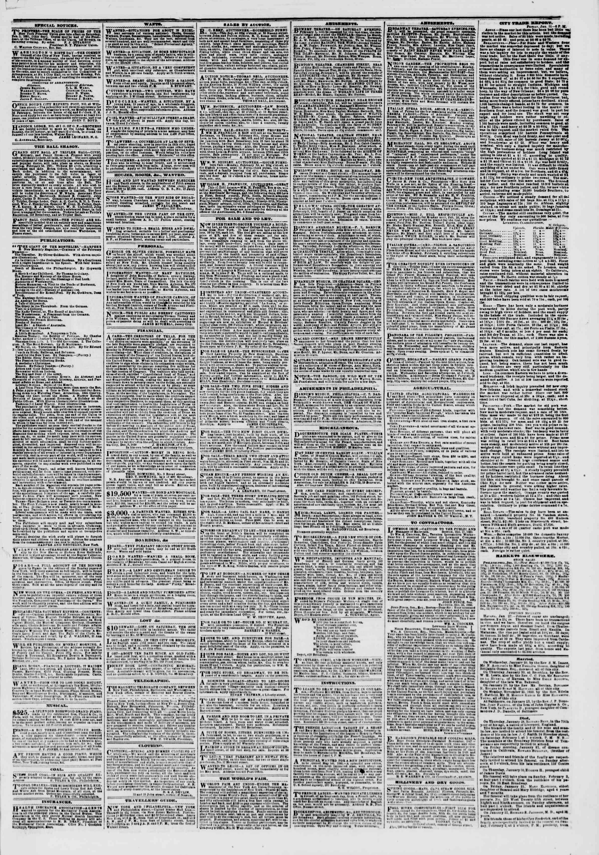 Newspaper of The New York Herald dated February 1, 1851 Page 3