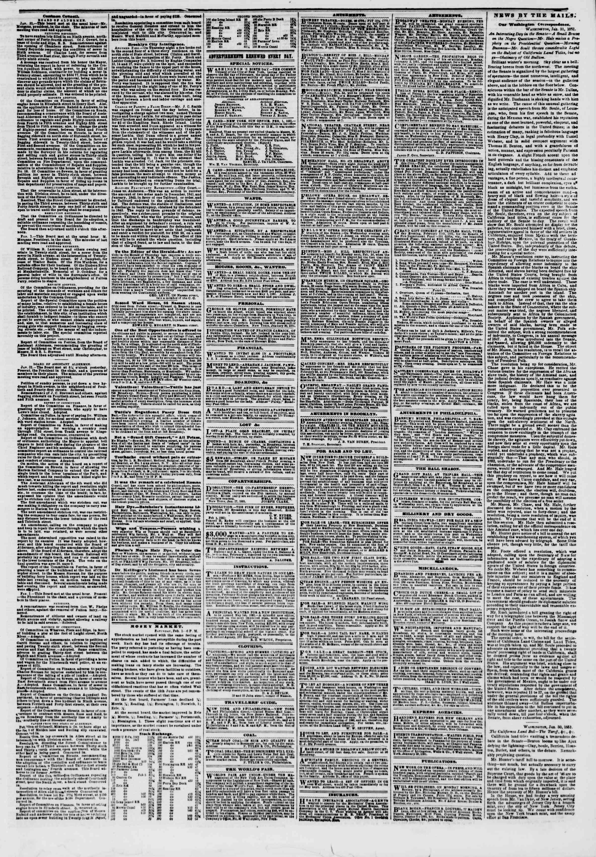 Newspaper of The New York Herald dated February 2, 1851 Page 3