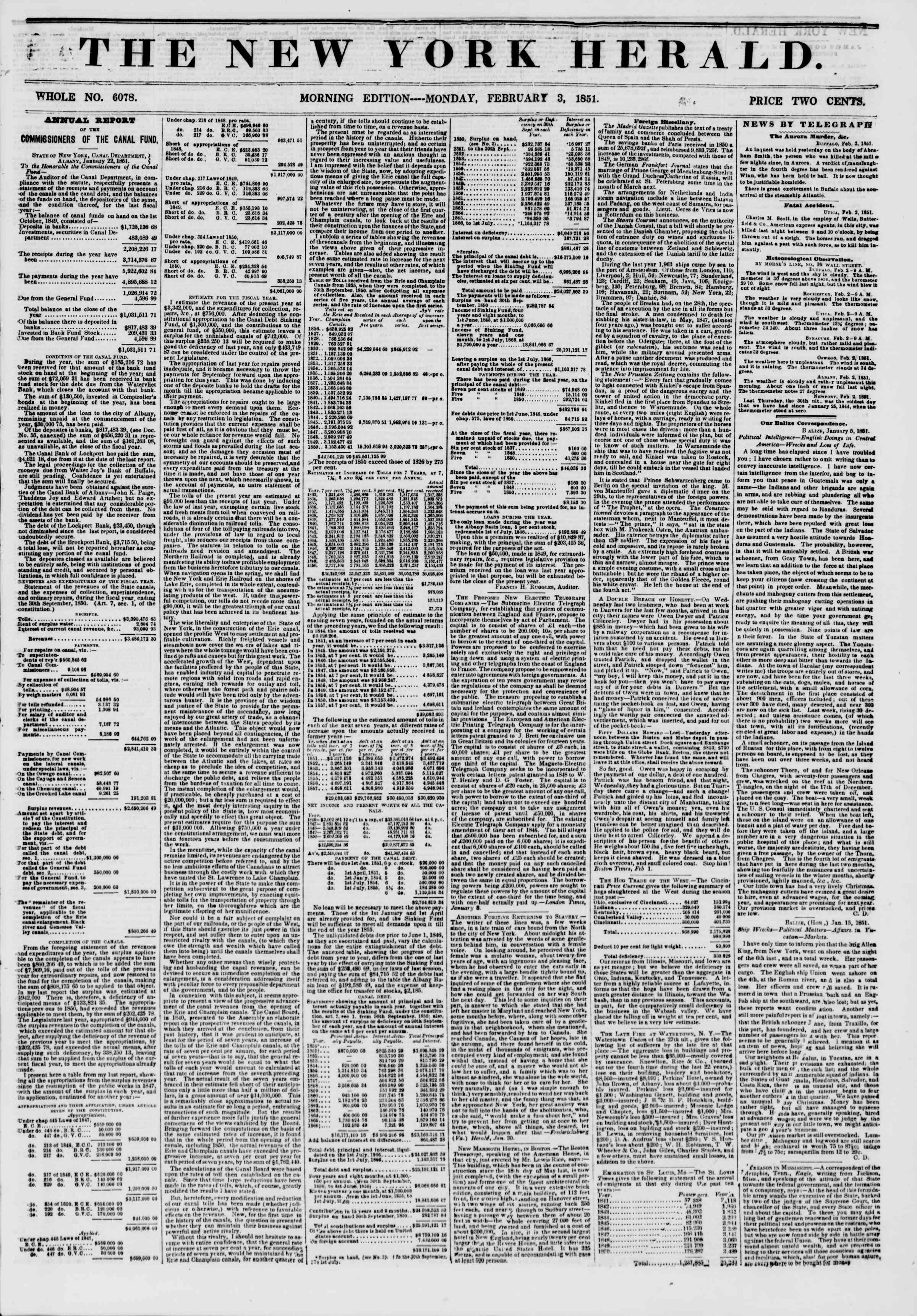 Newspaper of The New York Herald dated February 3, 1851 Page 1