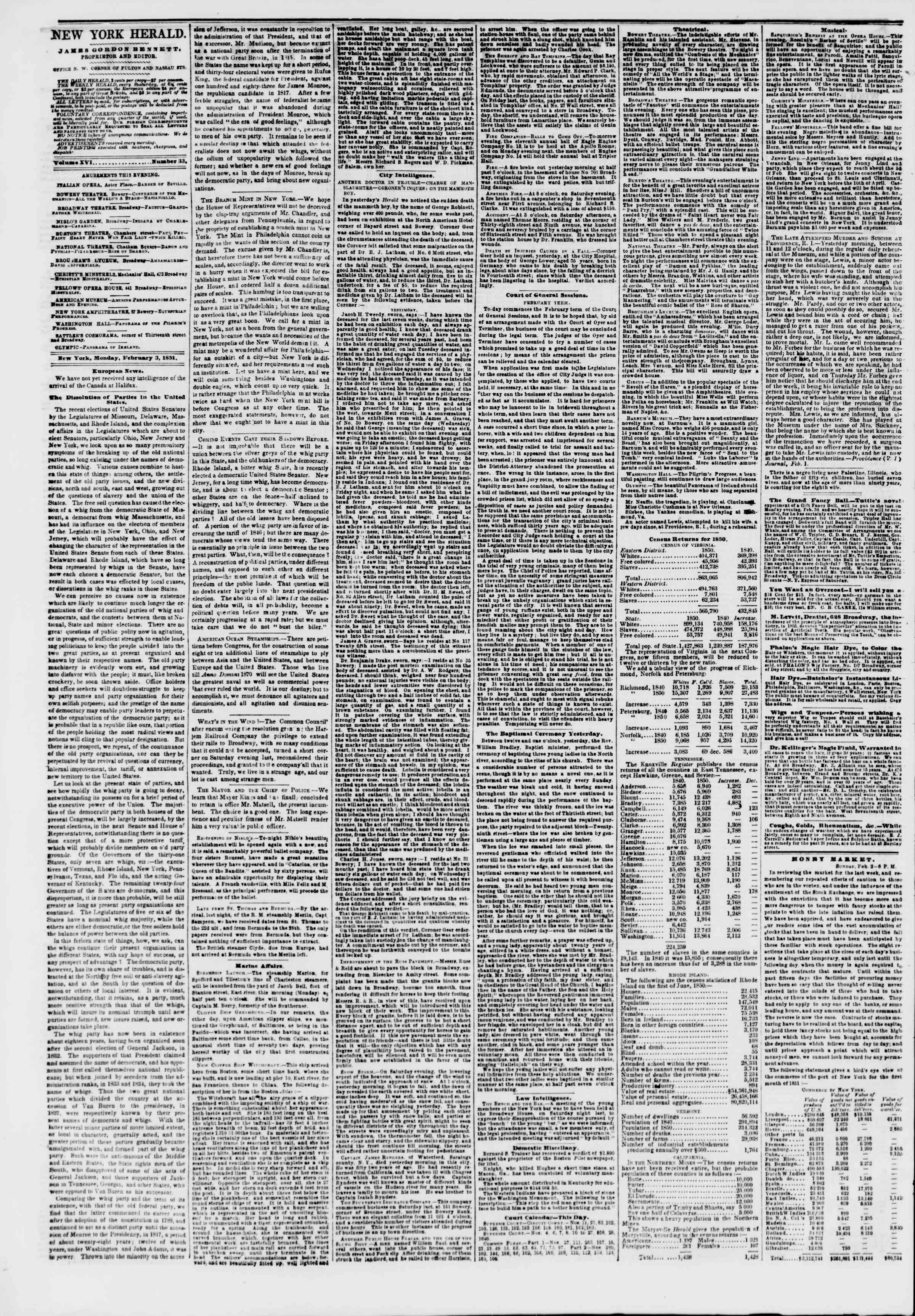 Newspaper of The New York Herald dated February 3, 1851 Page 2