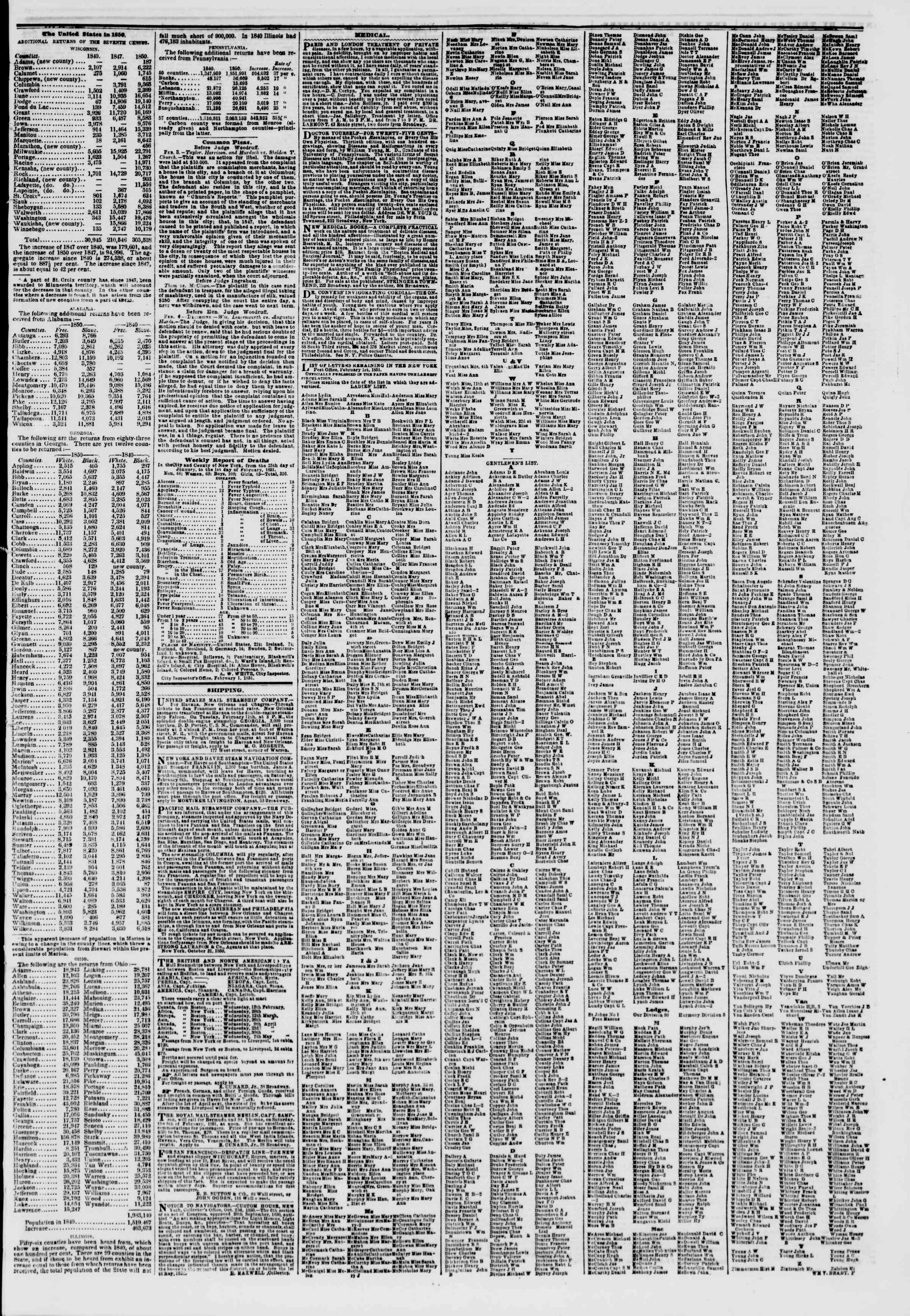 Newspaper of The New York Herald dated February 6, 1851 Page 7