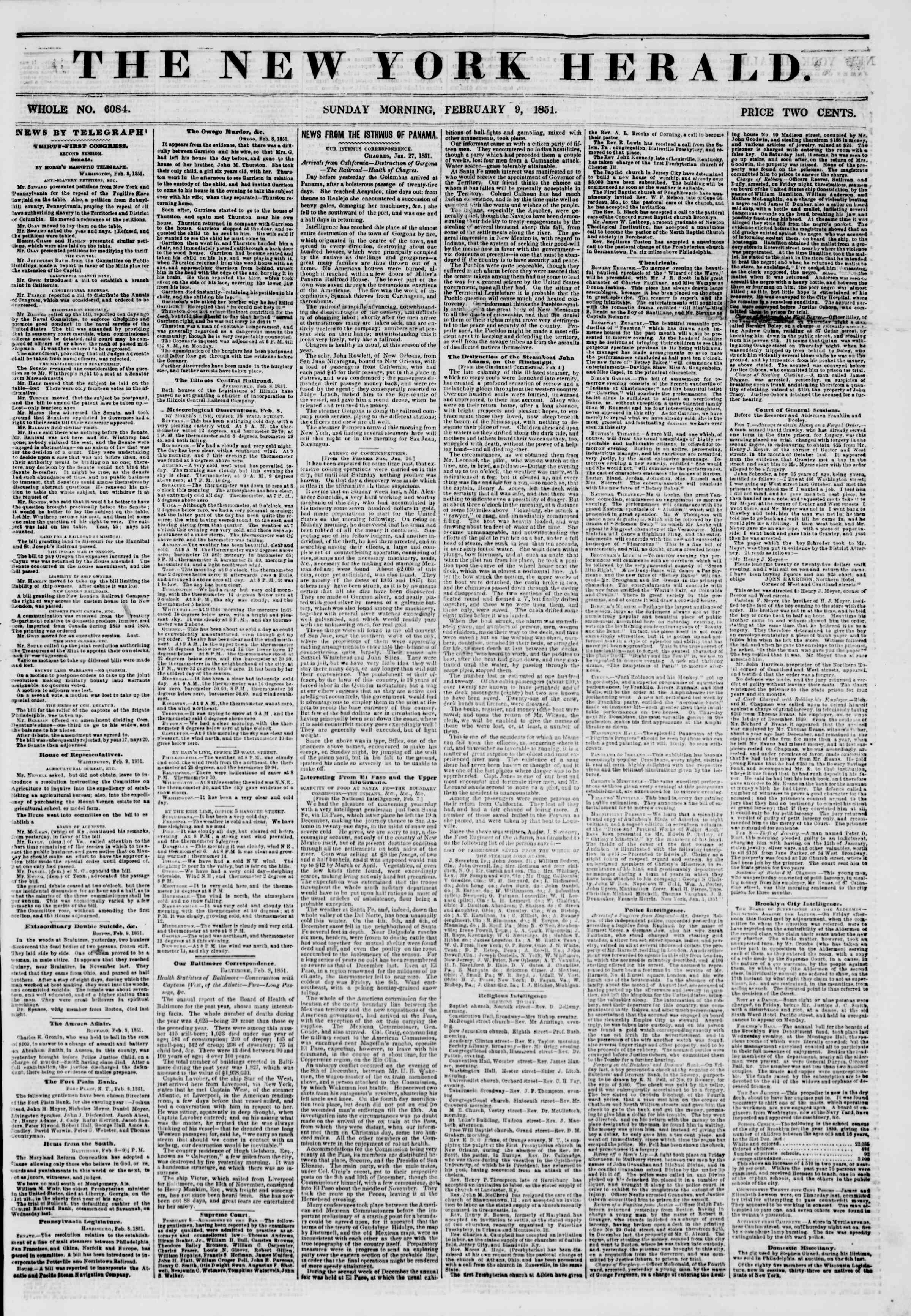 Newspaper of The New York Herald dated February 9, 1851 Page 1