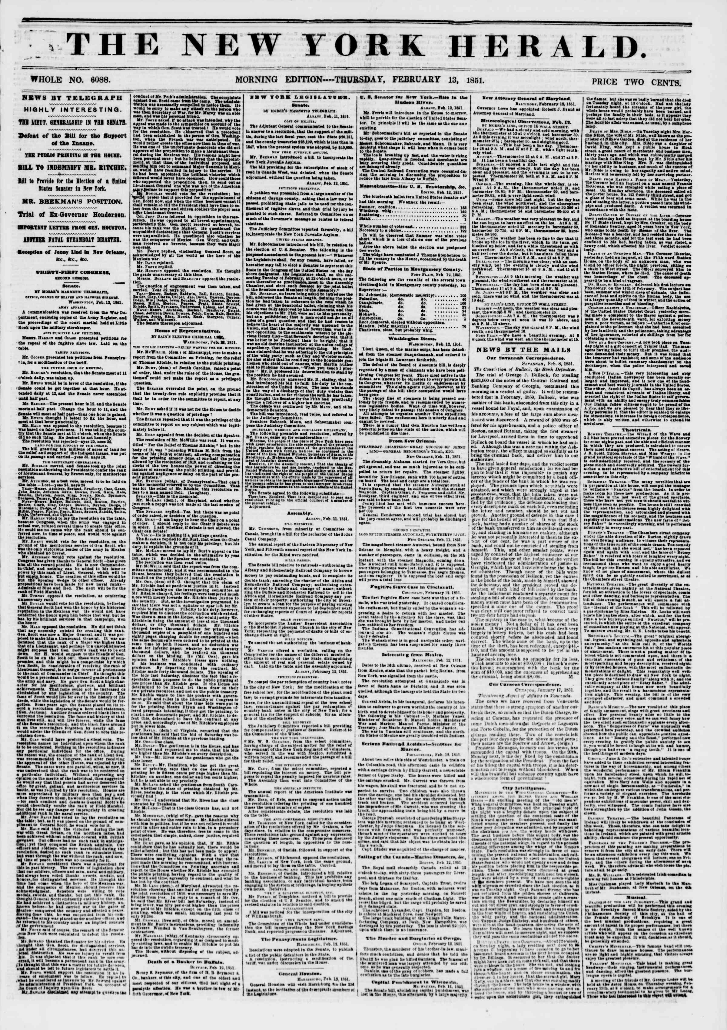 Newspaper of The New York Herald dated February 13, 1851 Page 1