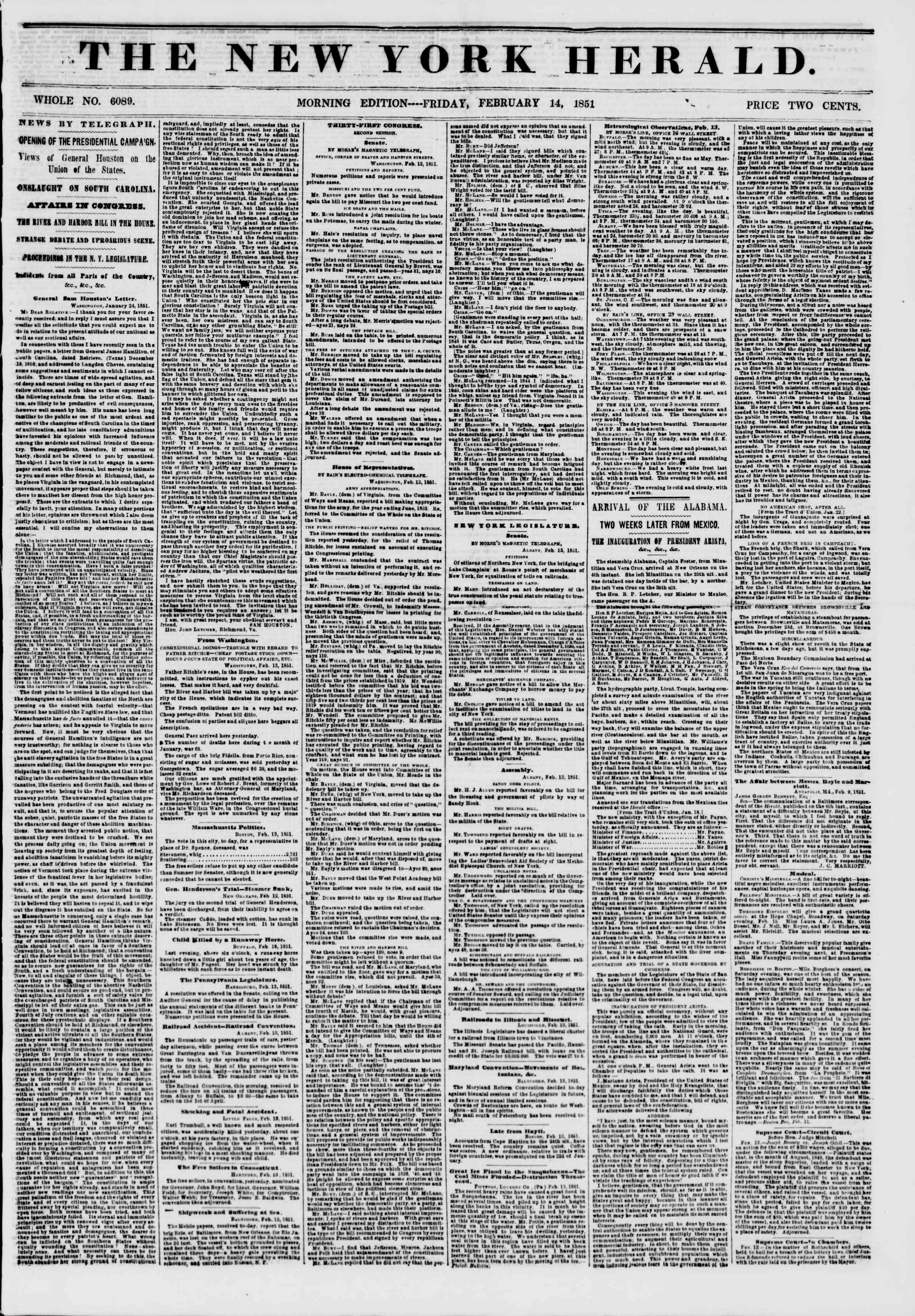 Newspaper of The New York Herald dated February 14, 1851 Page 1
