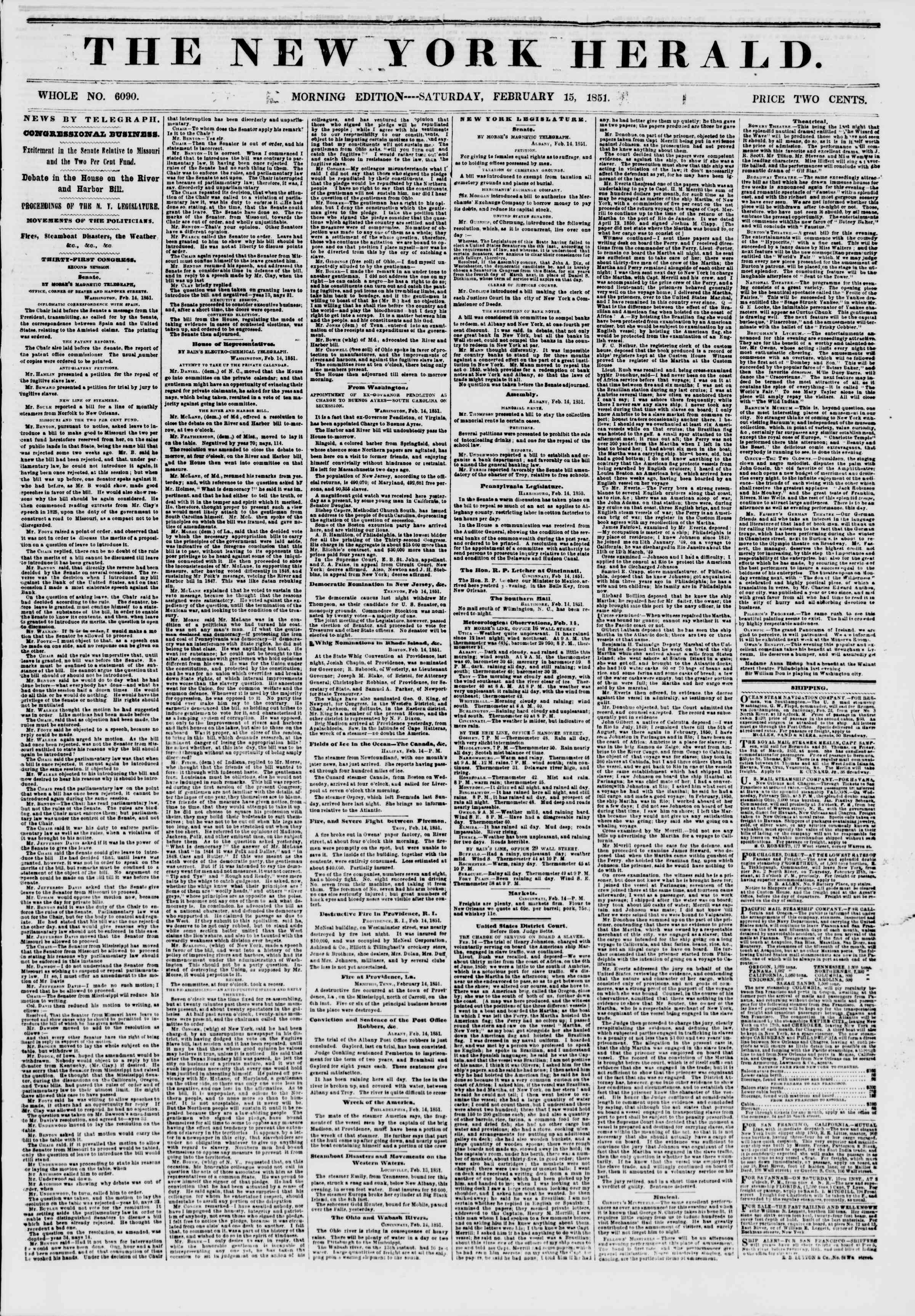 Newspaper of The New York Herald dated February 15, 1851 Page 1