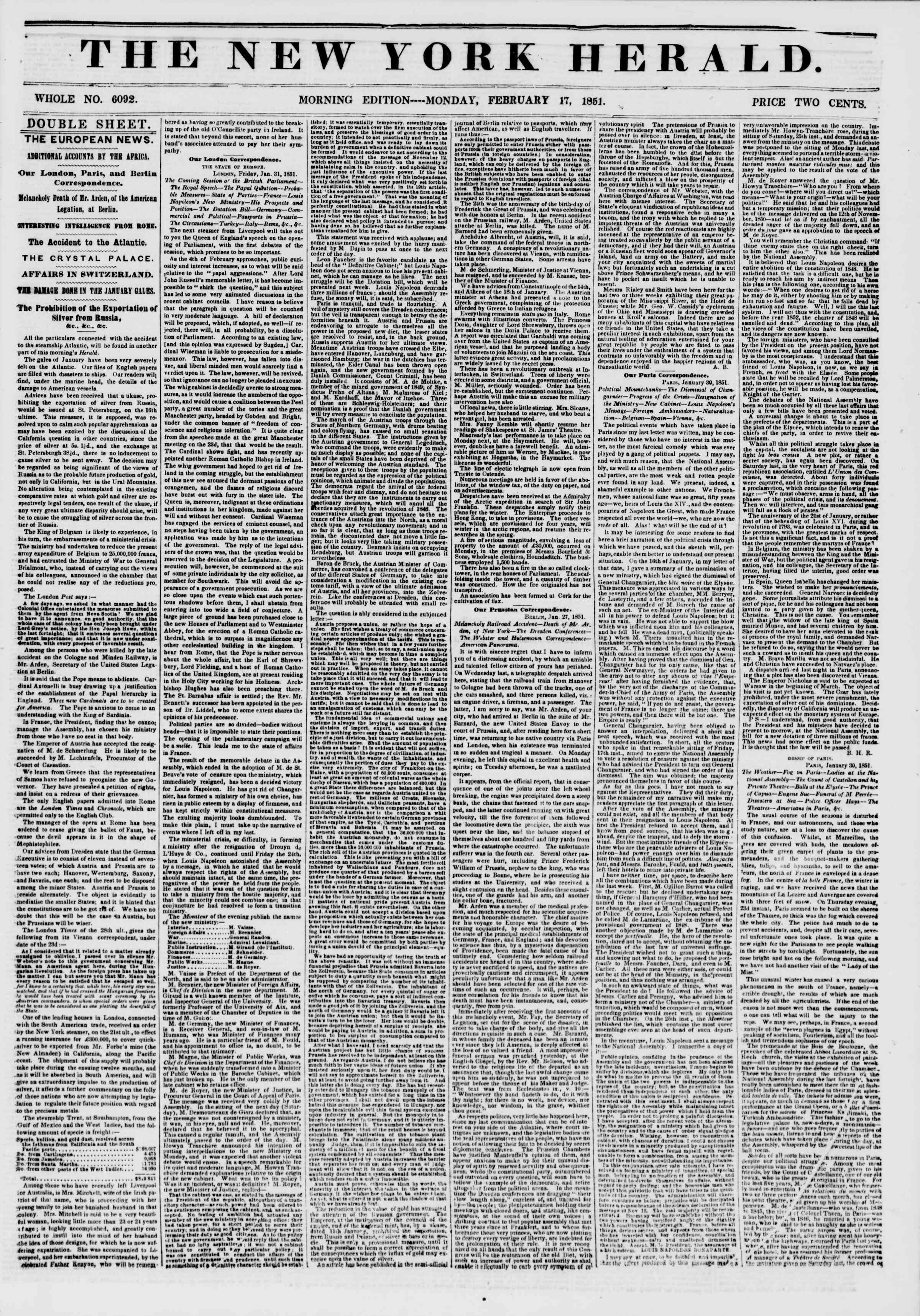 Newspaper of The New York Herald dated February 17, 1851 Page 1
