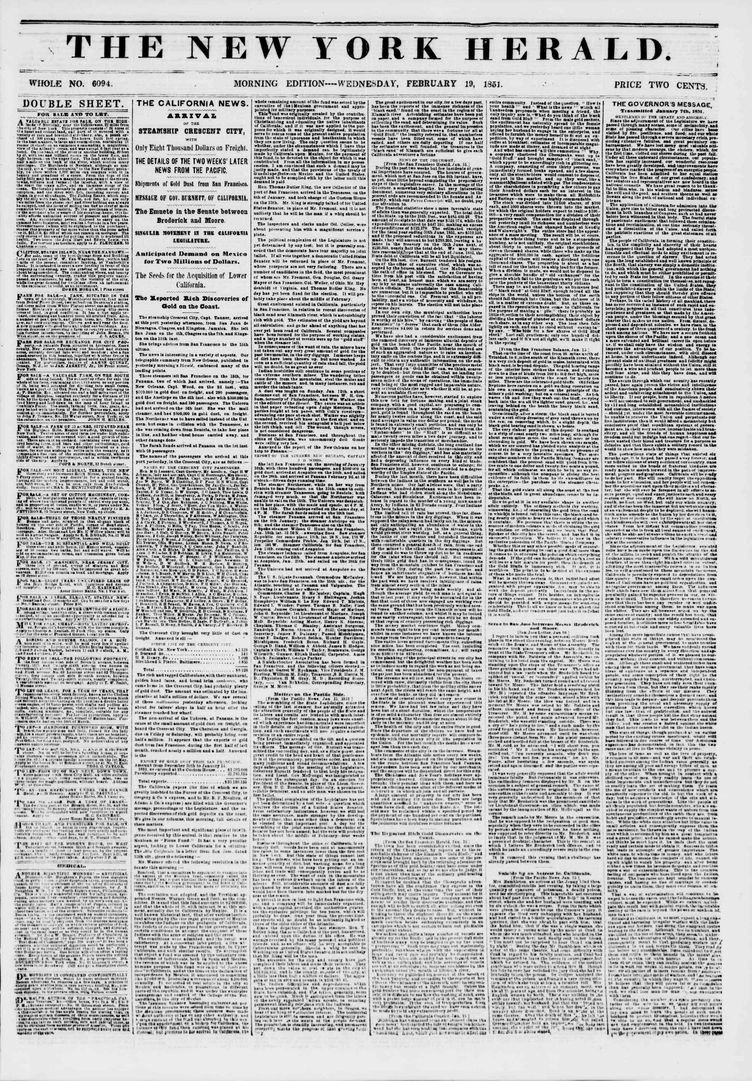 Newspaper of The New York Herald dated February 19, 1851 Page 1