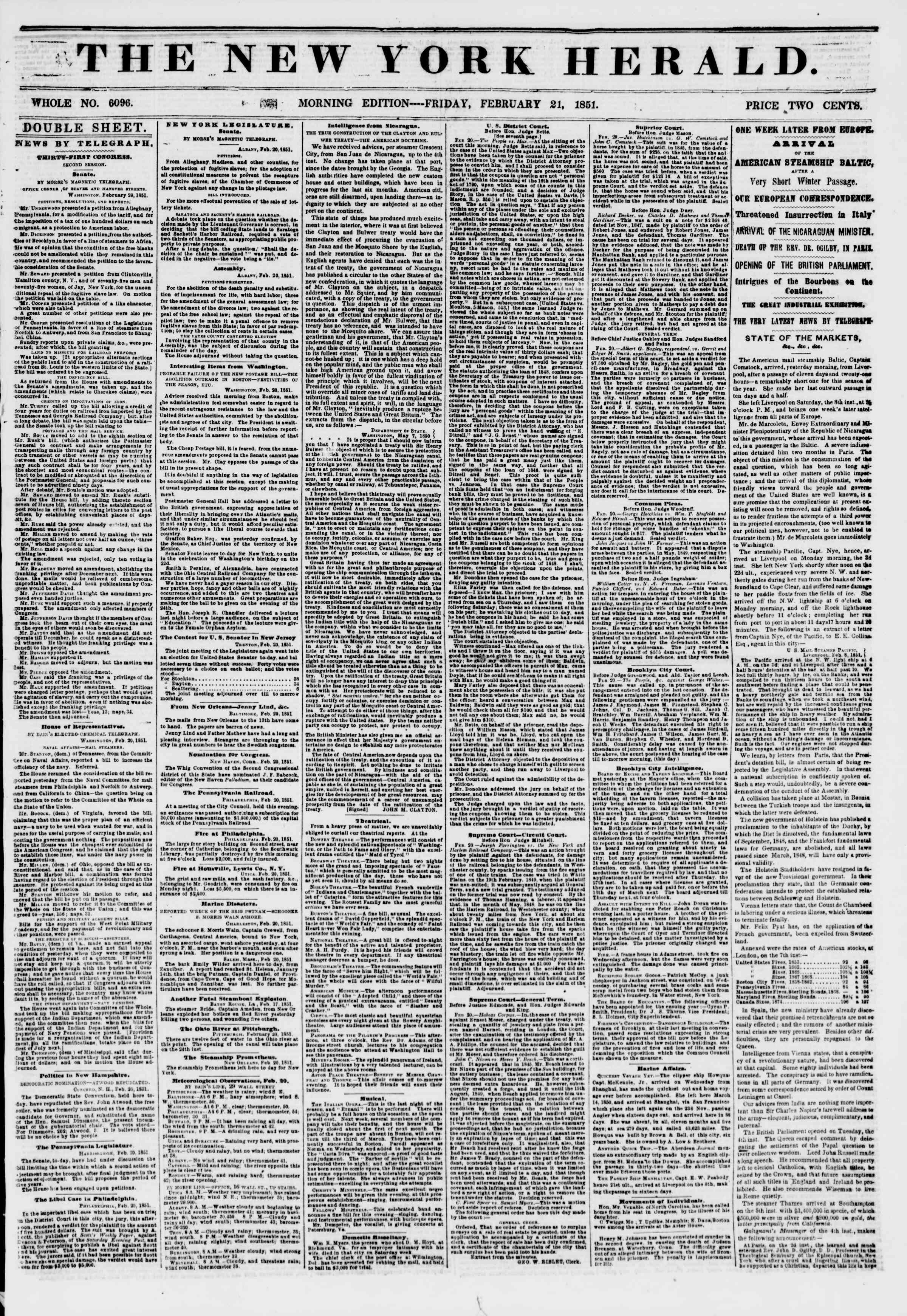 Newspaper of The New York Herald dated February 21, 1851 Page 1