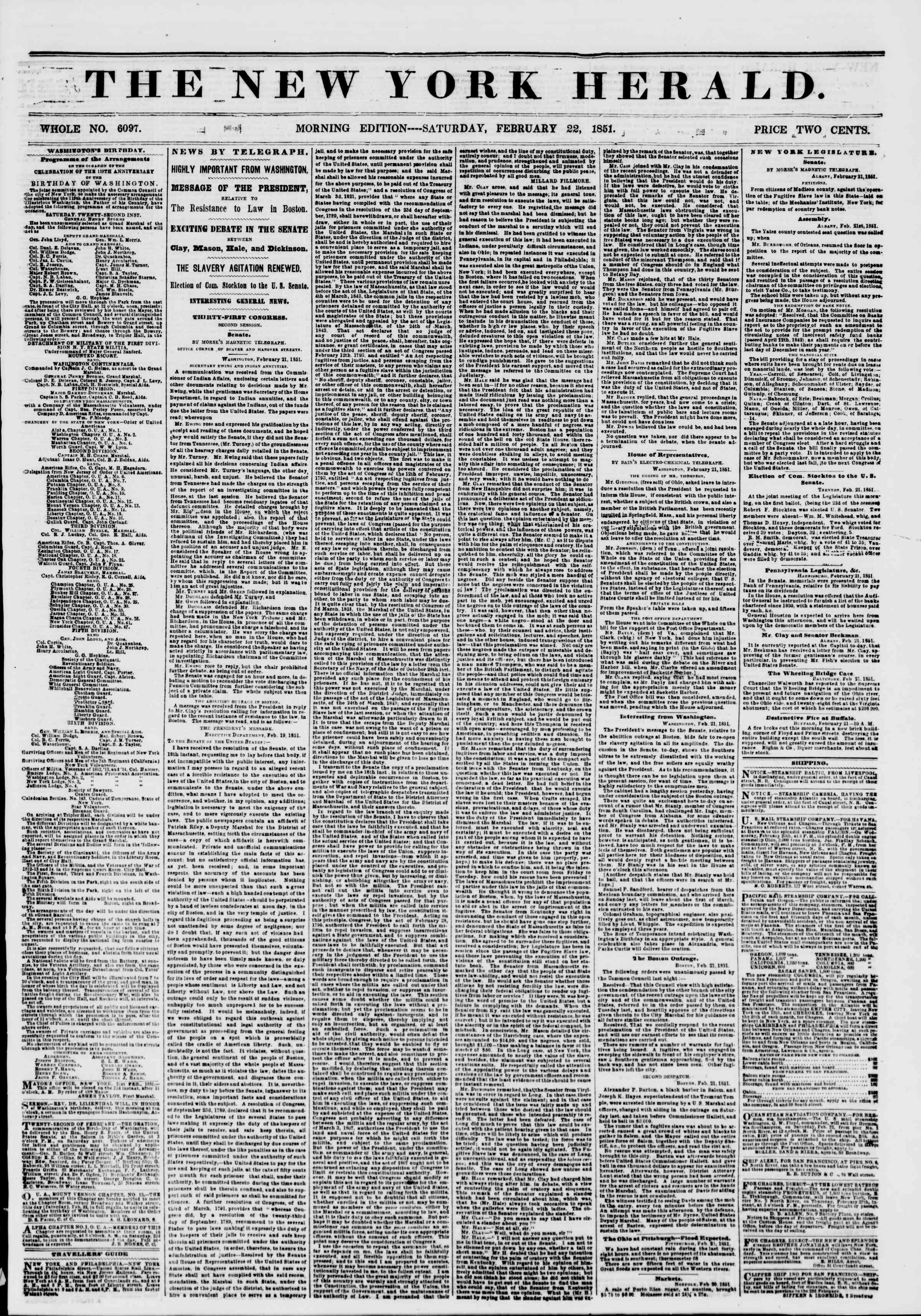 Newspaper of The New York Herald dated February 22, 1851 Page 1