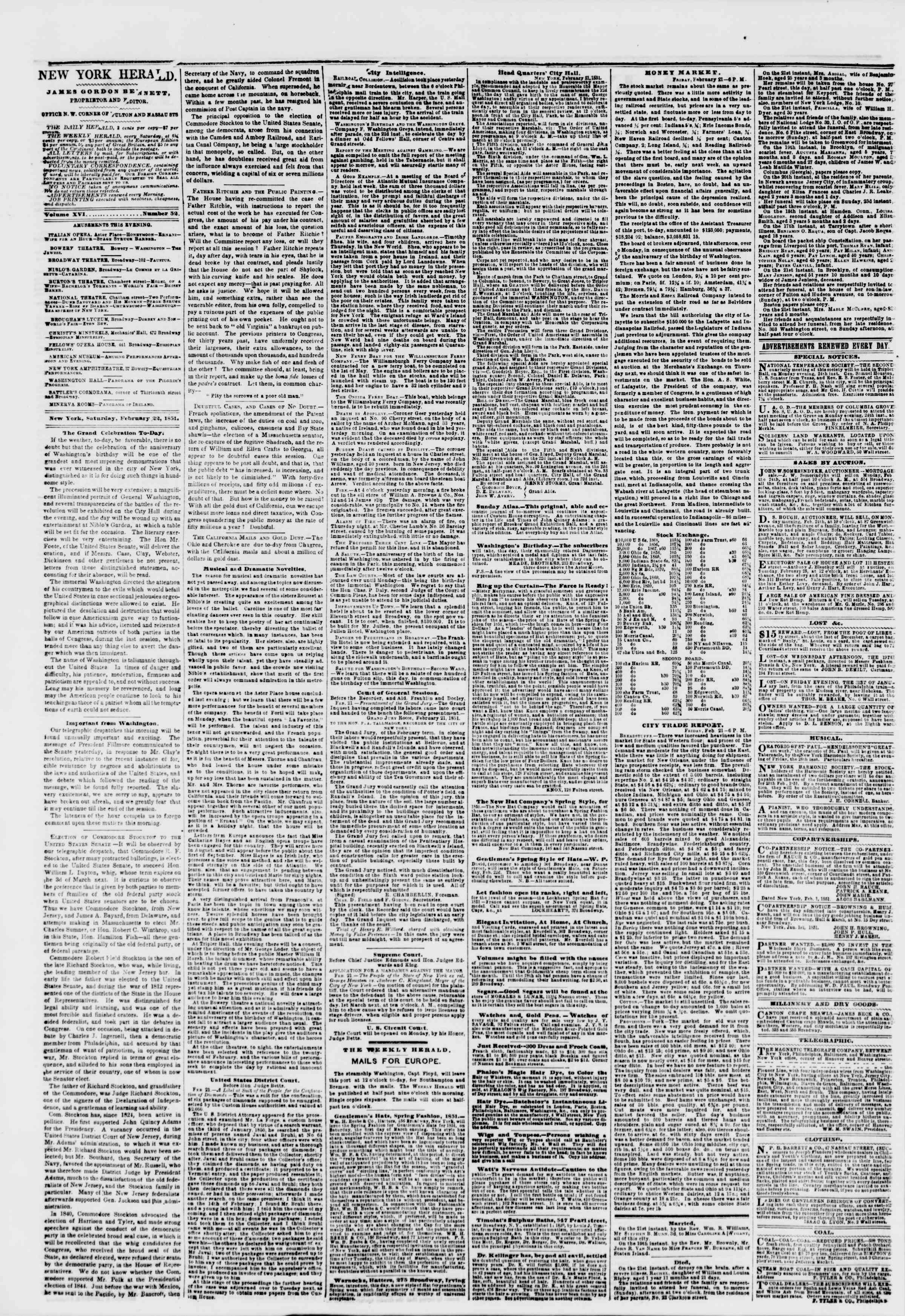 Newspaper of The New York Herald dated February 22, 1851 Page 2