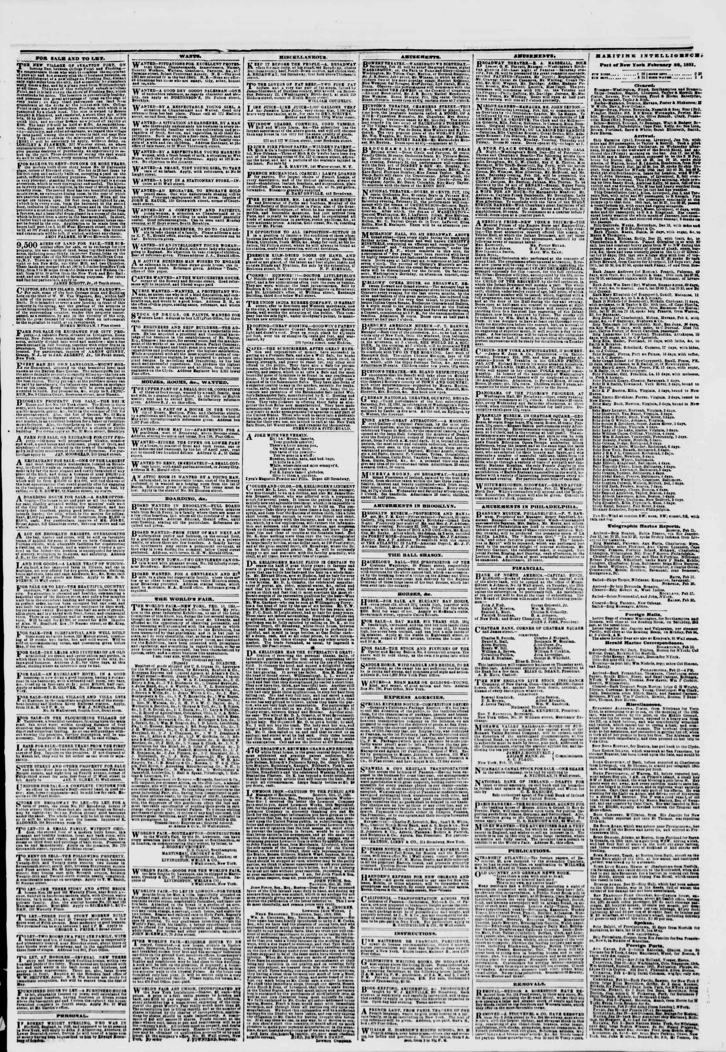 Newspaper of The New York Herald dated February 22, 1851 Page 3
