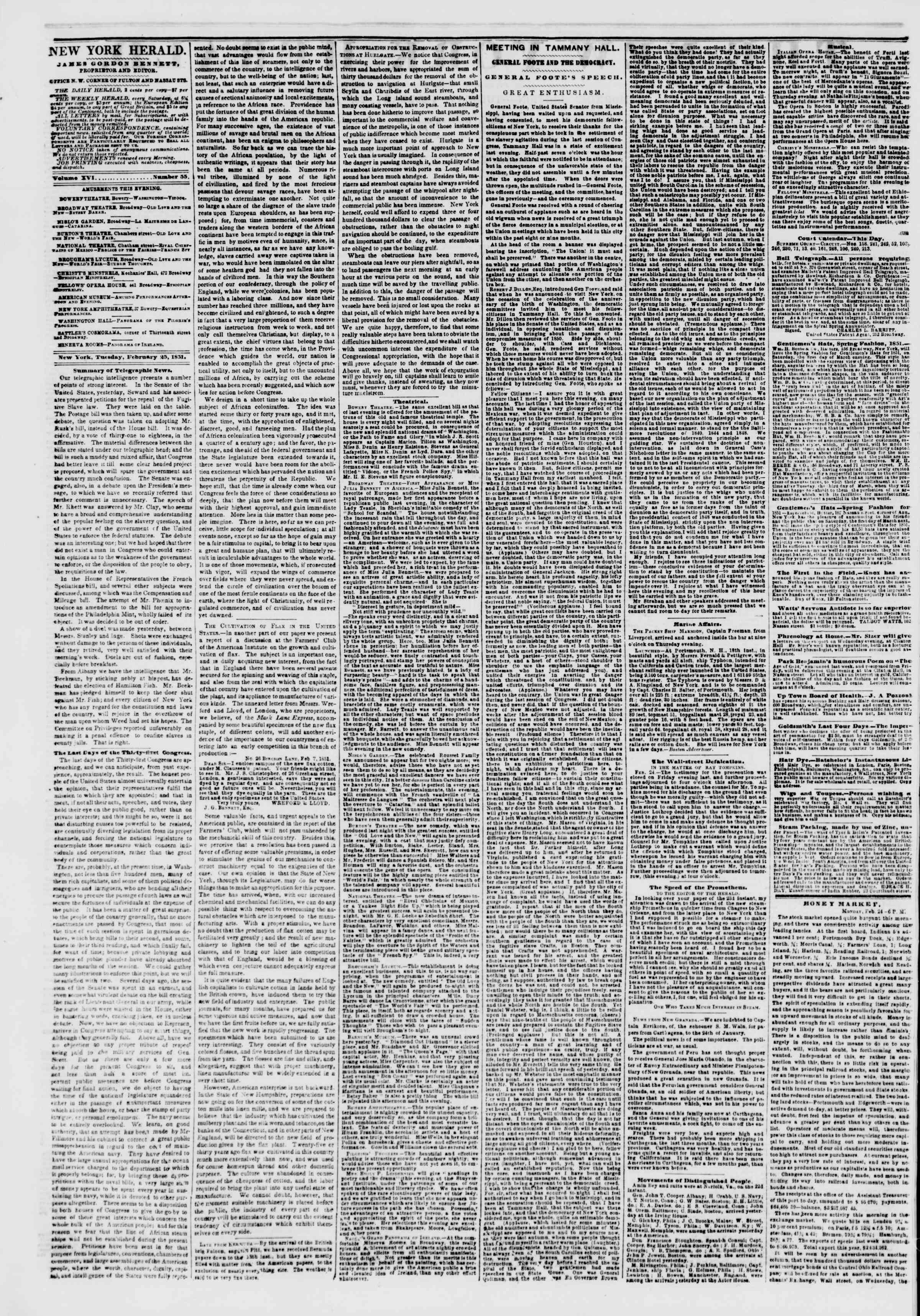 Newspaper of The New York Herald dated February 25, 1851 Page 2