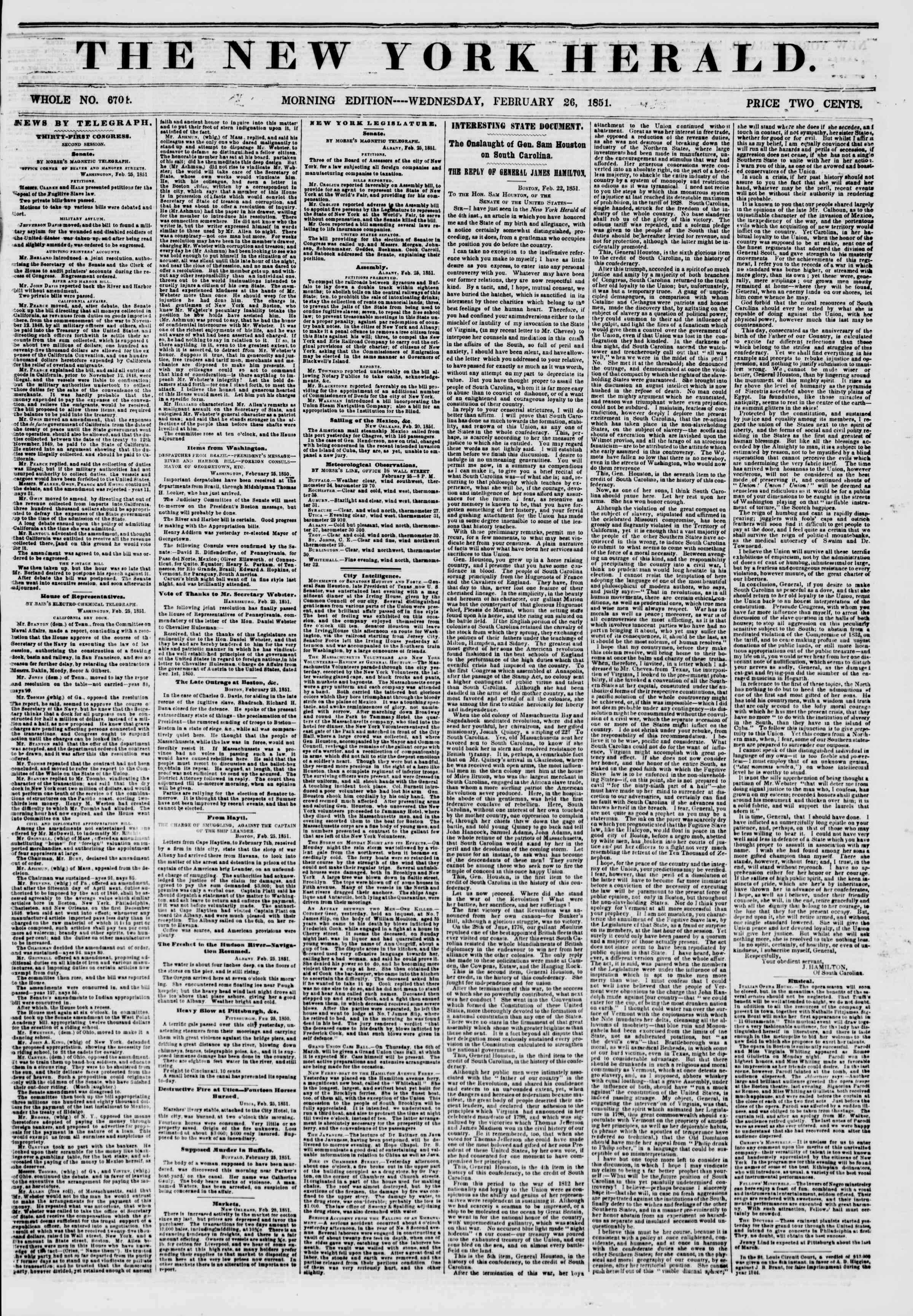 Newspaper of The New York Herald dated February 26, 1851 Page 1