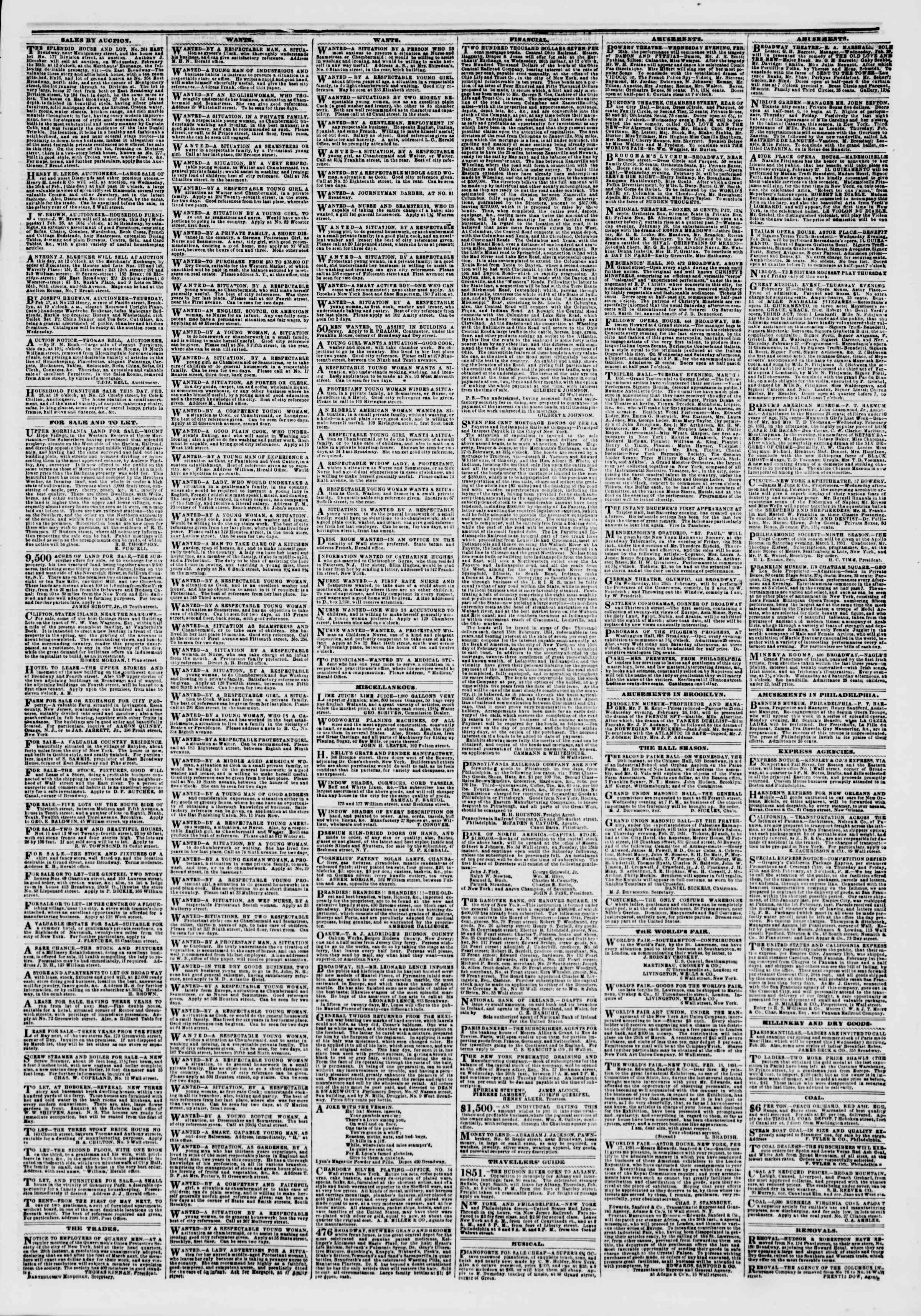 Newspaper of The New York Herald dated February 26, 1851 Page 3