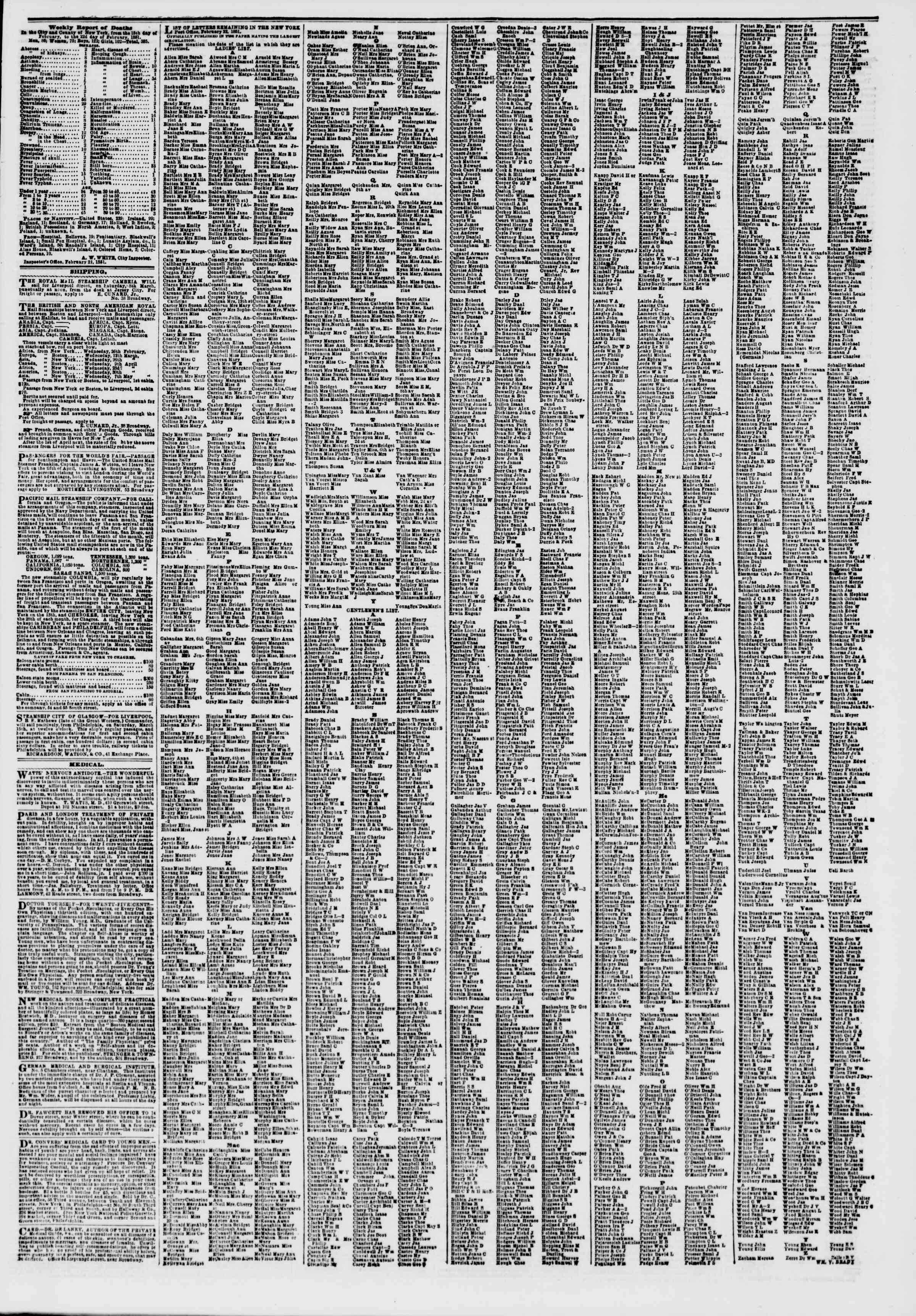 Newspaper of The New York Herald dated February 27, 1851 Page 7
