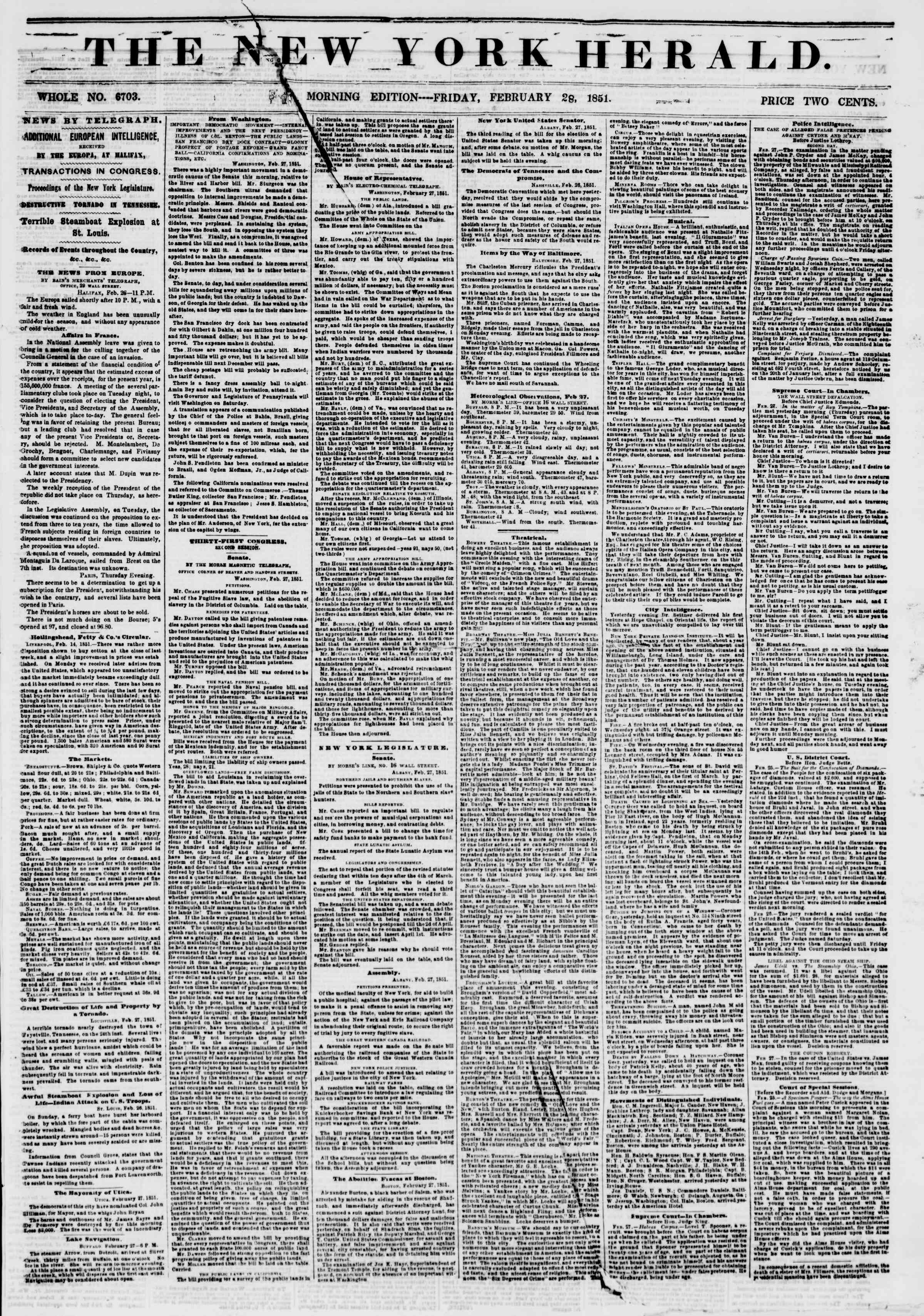 Newspaper of The New York Herald dated February 28, 1851 Page 1