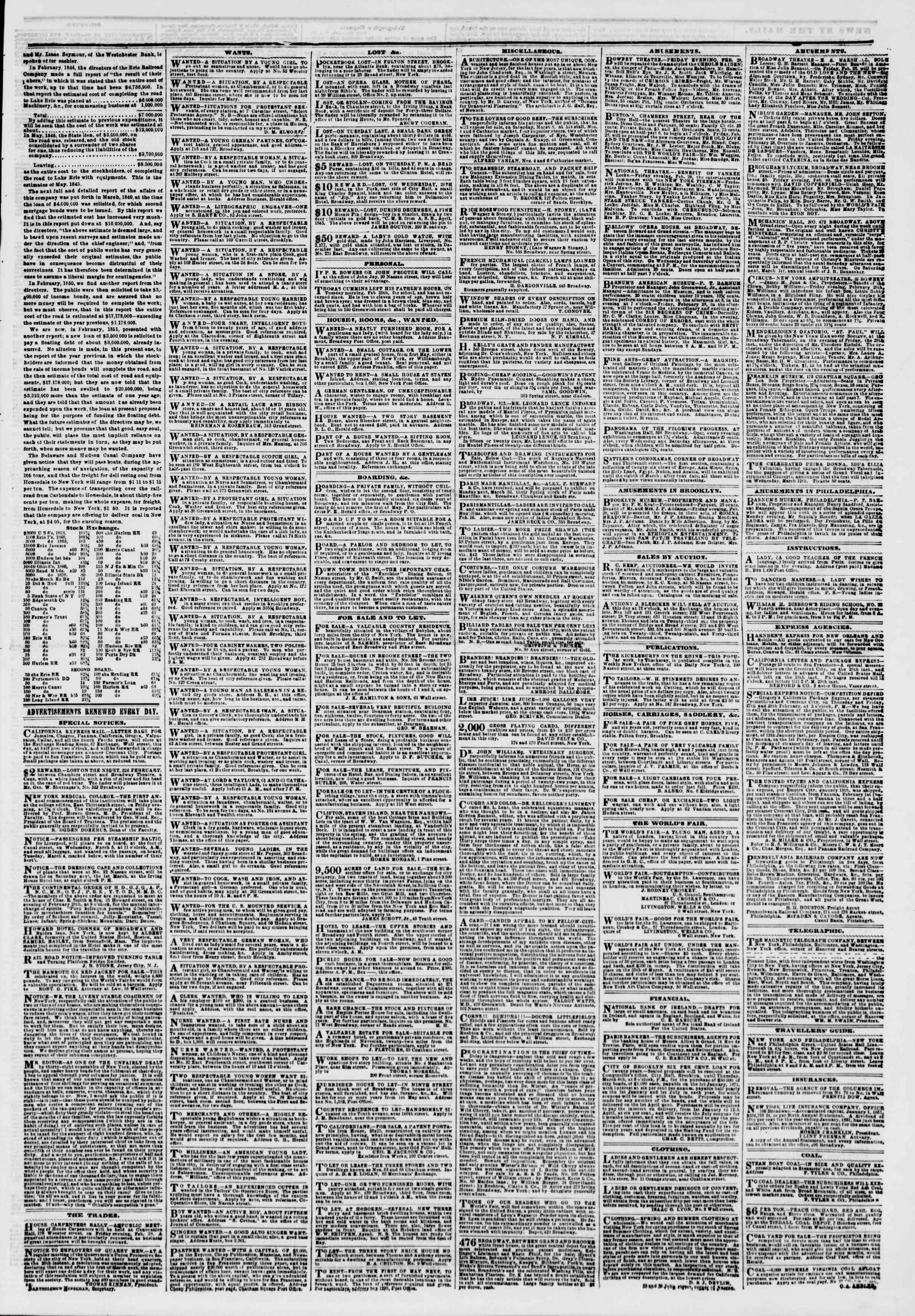Newspaper of The New York Herald dated February 28, 1851 Page 3