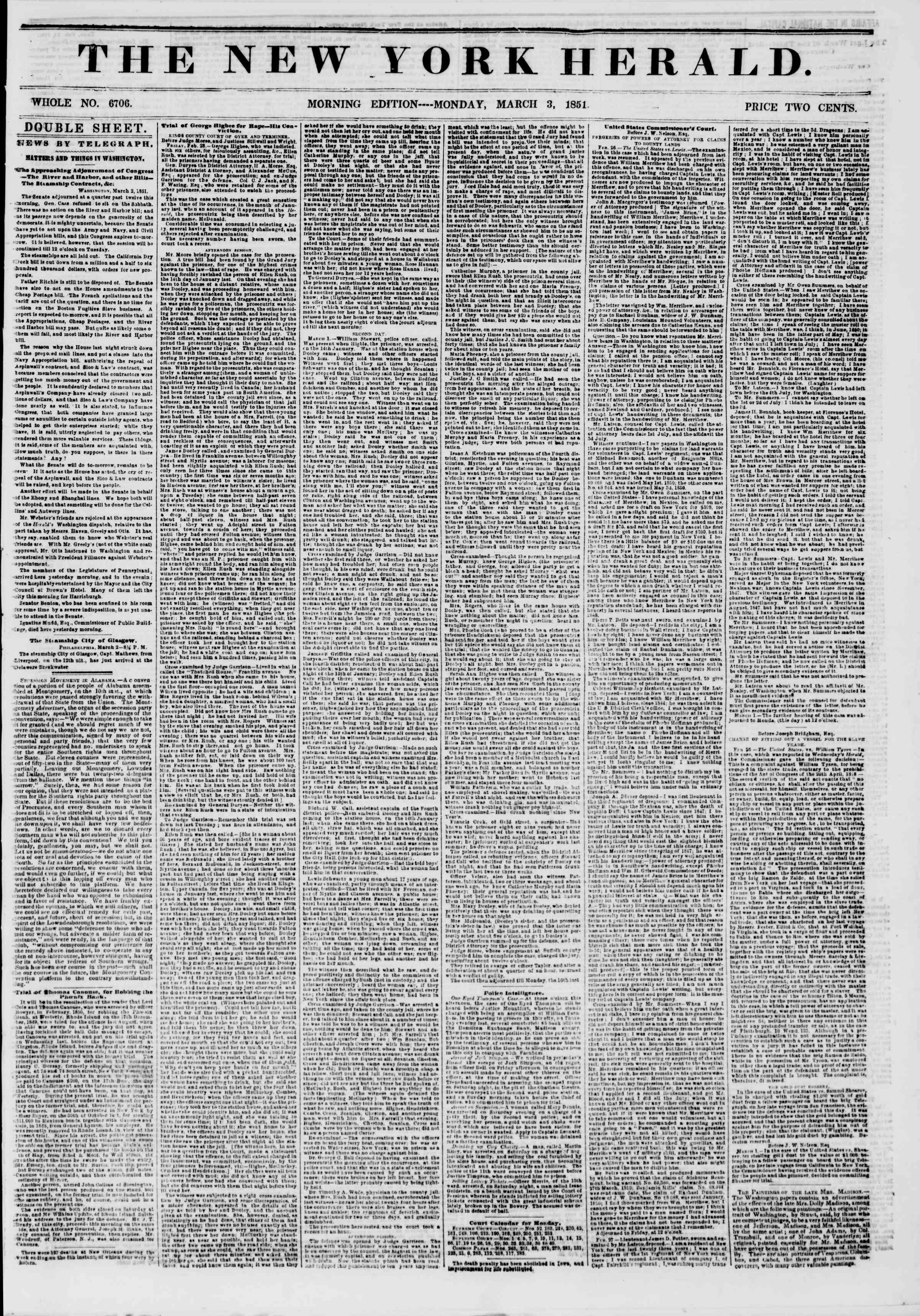 Newspaper of The New York Herald dated March 3, 1851 Page 1