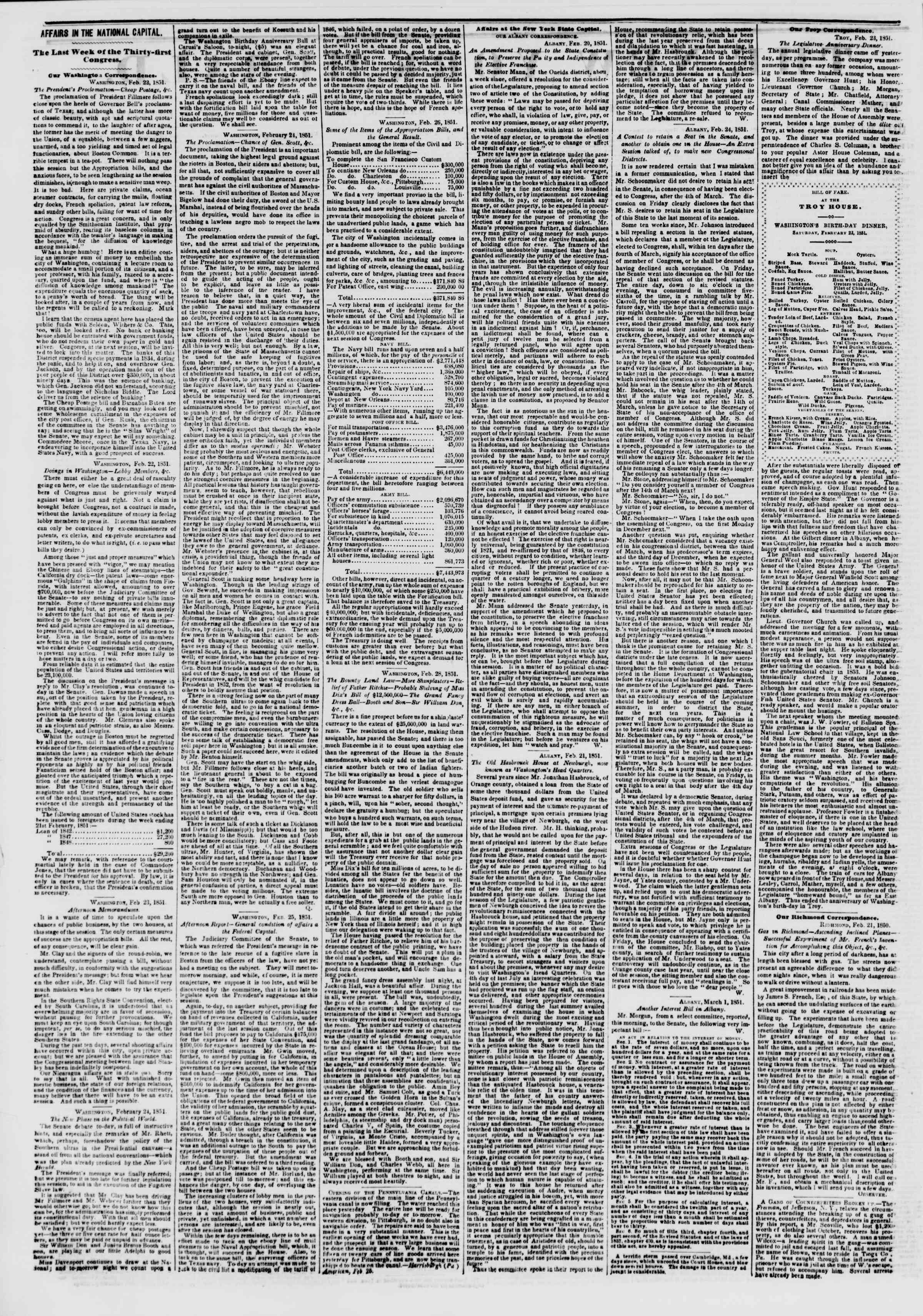 Newspaper of The New York Herald dated March 3, 1851 Page 2