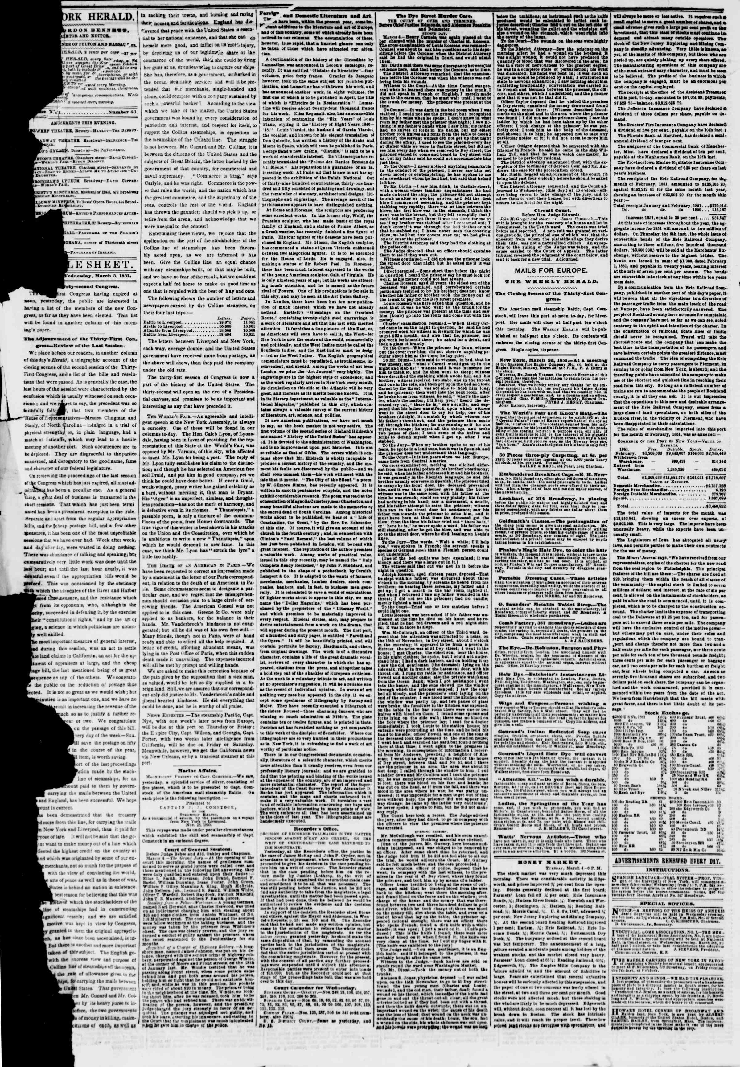 Newspaper of The New York Herald dated March 5, 1851 Page 4