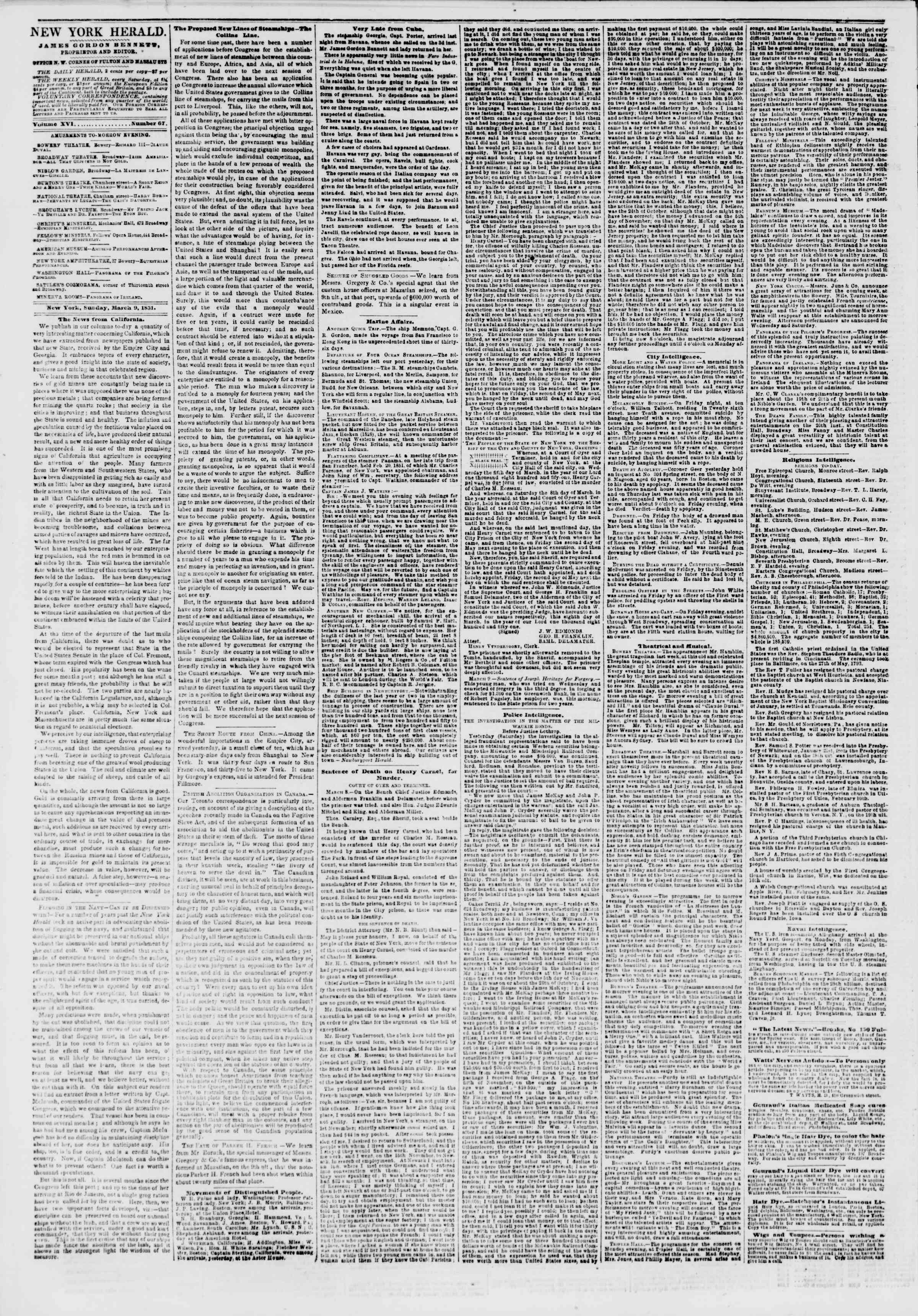 Newspaper of The New York Herald dated March 9, 1851 Page 2