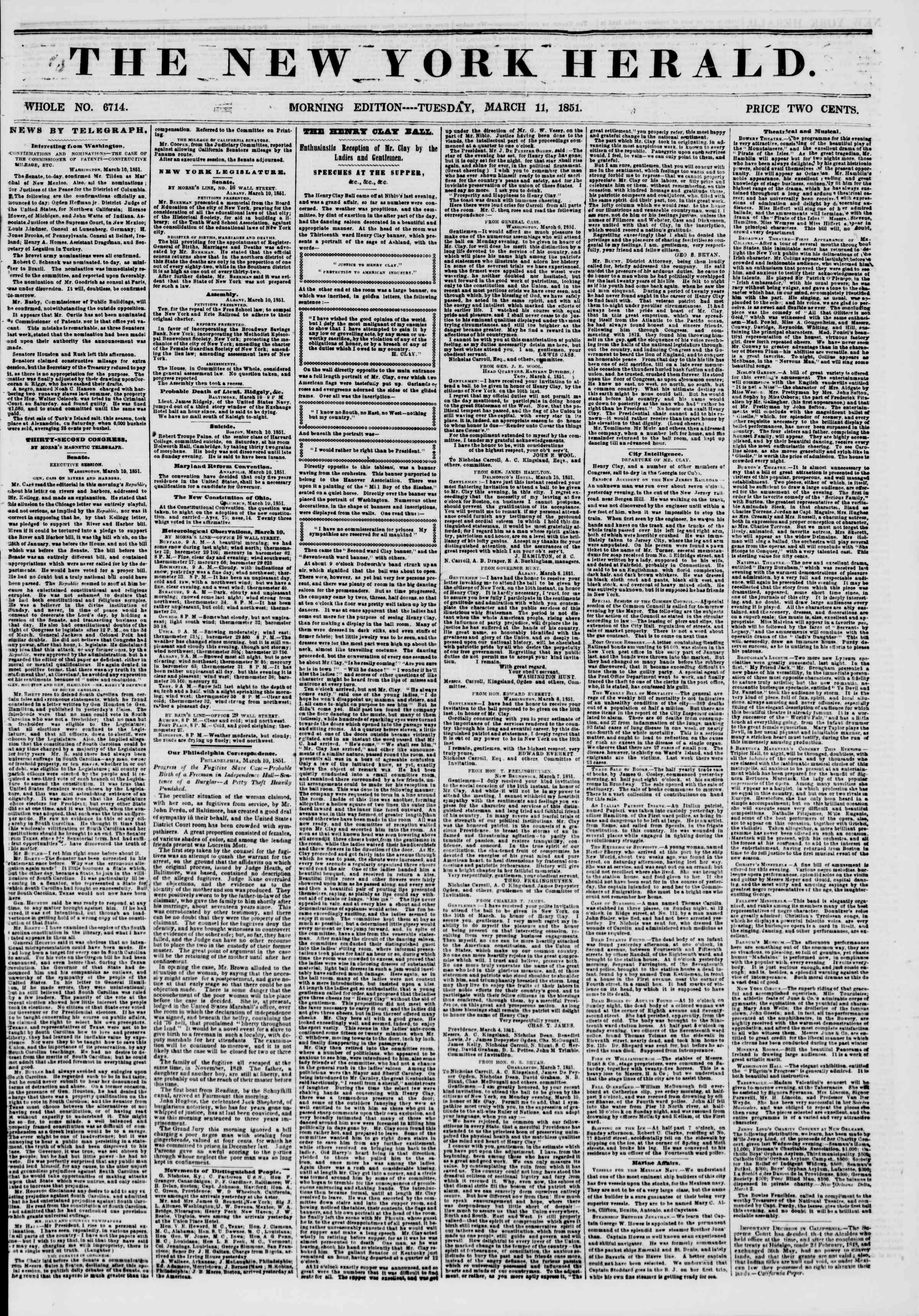 Newspaper of The New York Herald dated March 11, 1851 Page 1