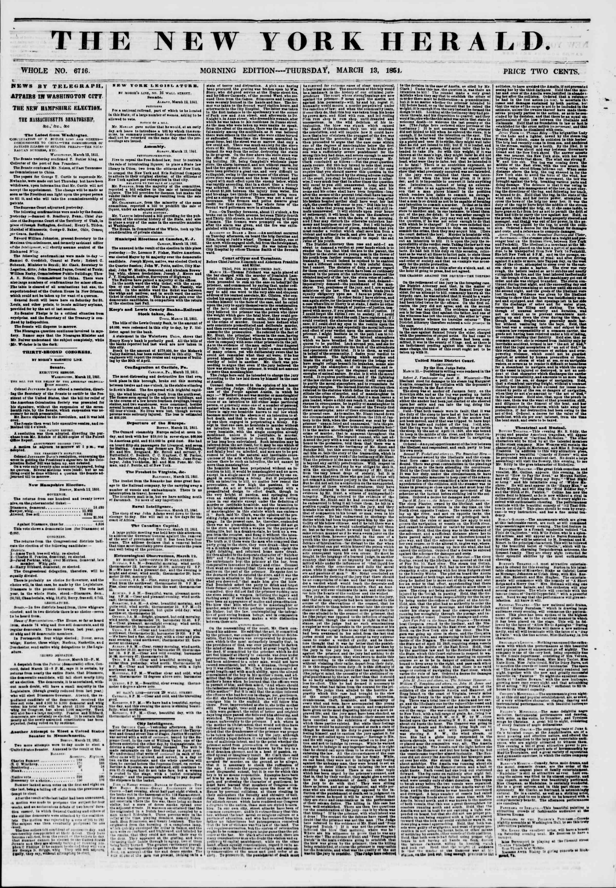Newspaper of The New York Herald dated March 13, 1851 Page 1