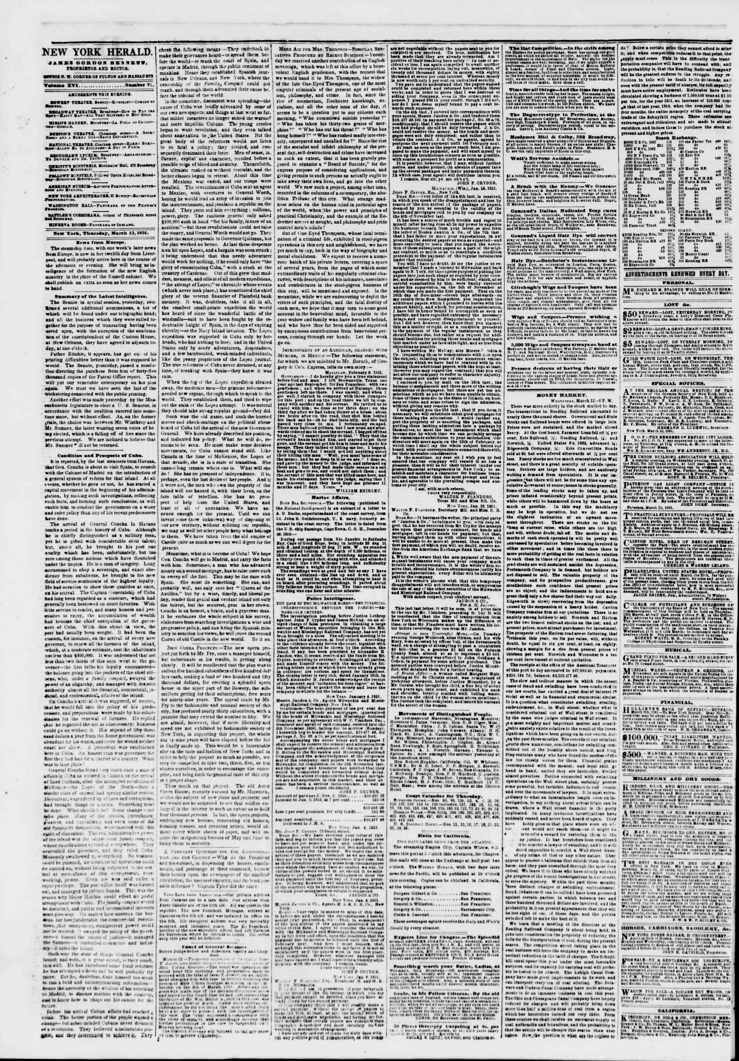 Newspaper of The New York Herald dated March 13, 1851 Page 2