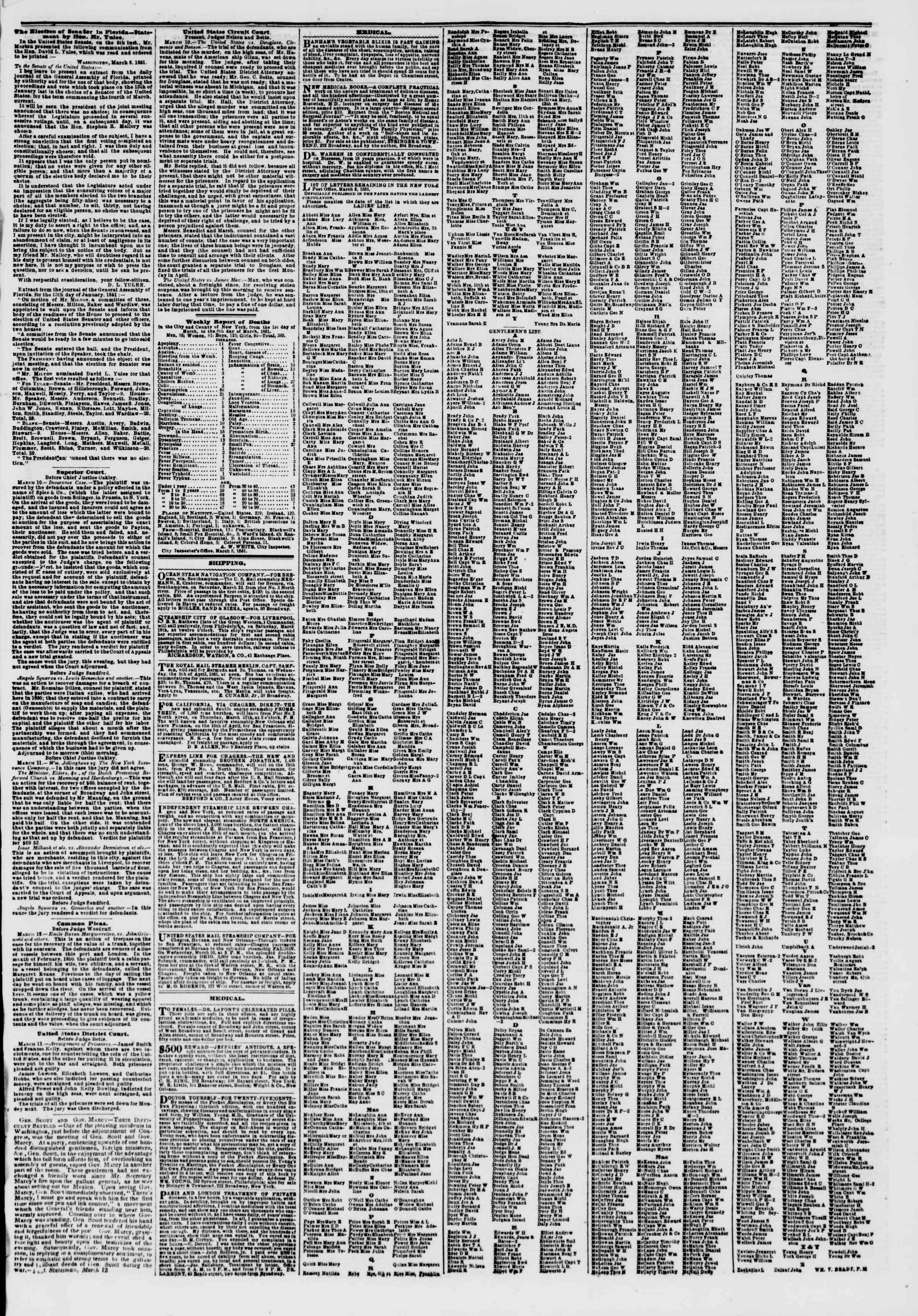 Newspaper of The New York Herald dated March 14, 1851 Page 7