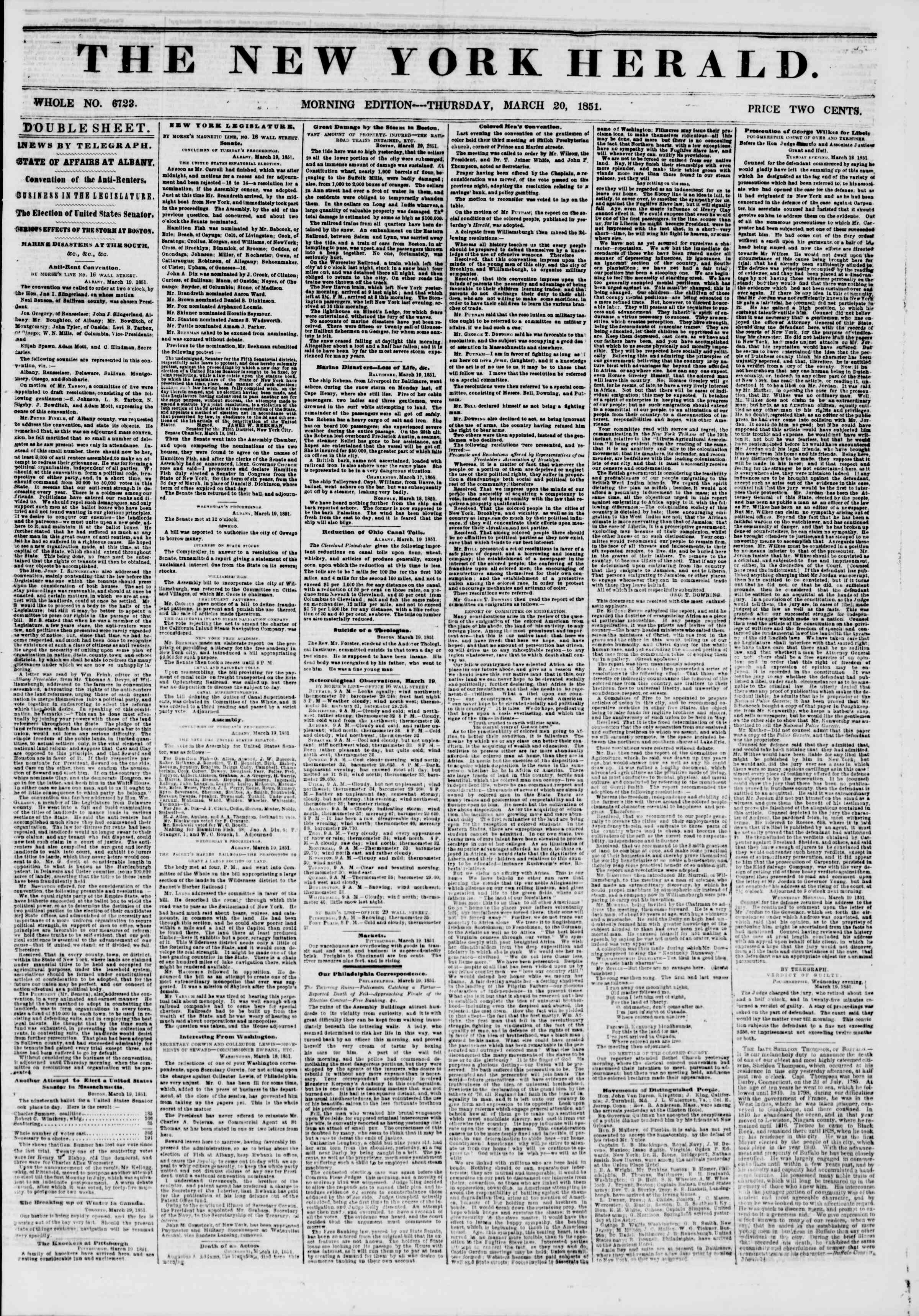 Newspaper of The New York Herald dated March 20, 1851 Page 1