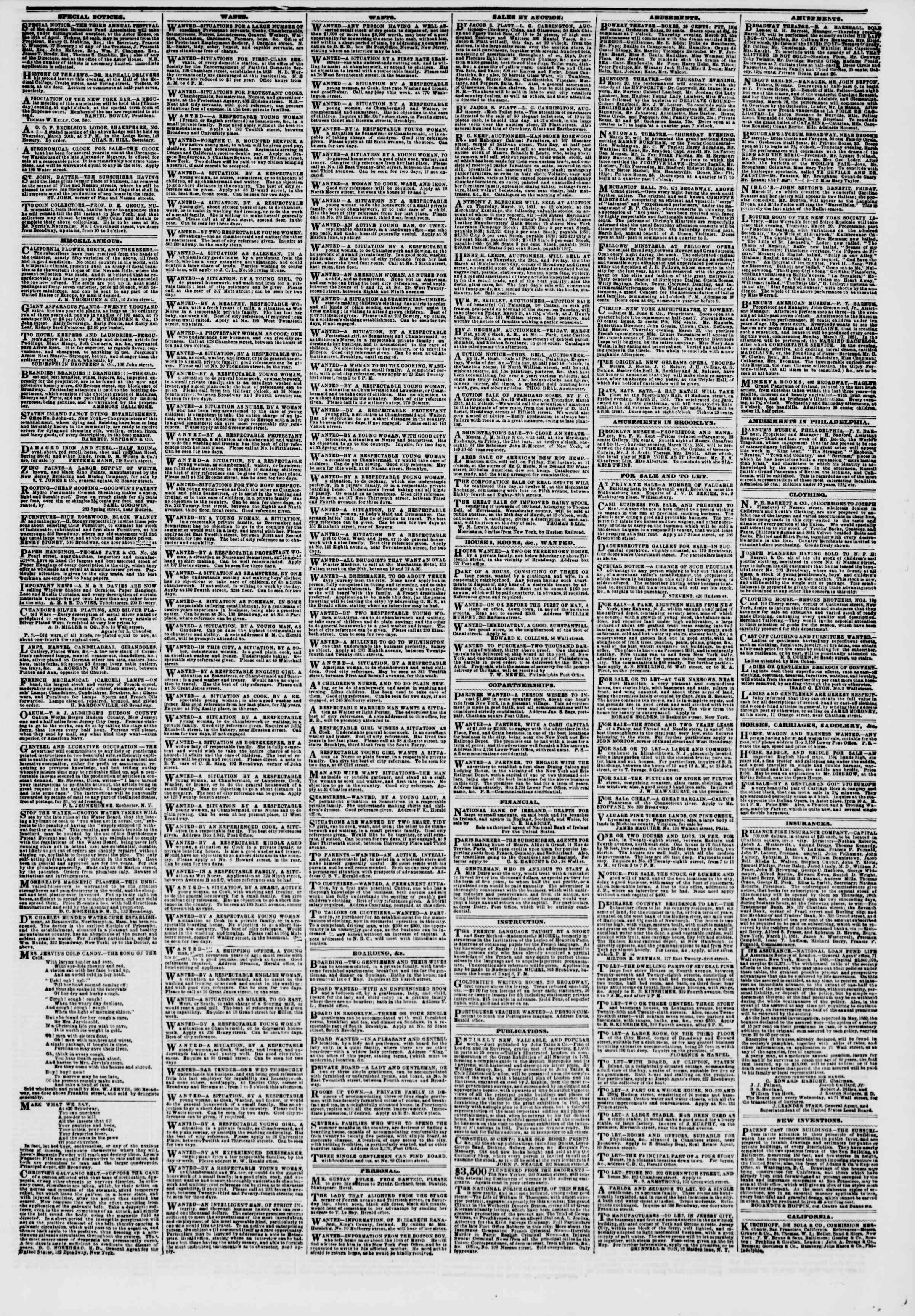 Newspaper of The New York Herald dated March 20, 1851 Page 5