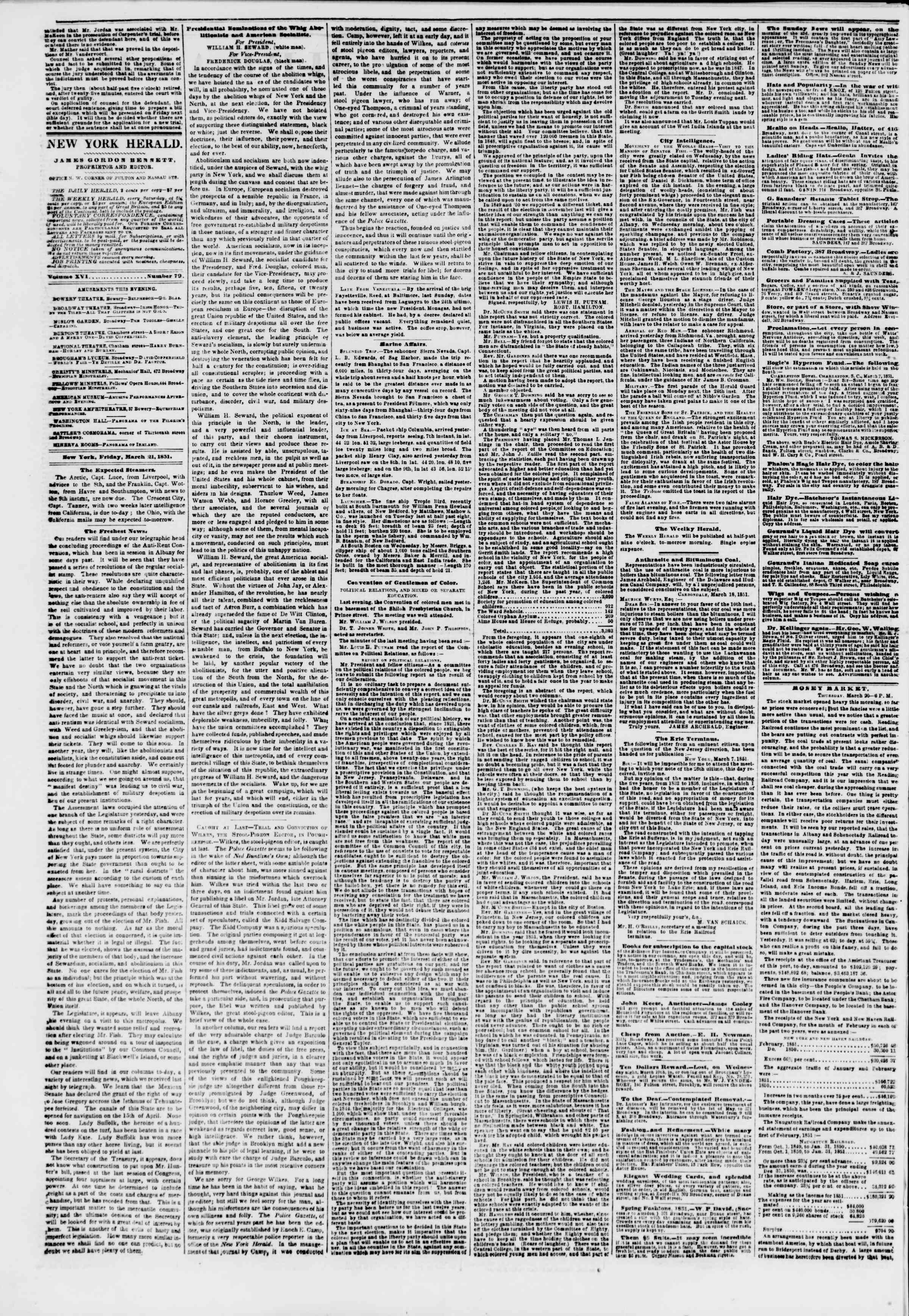 Newspaper of The New York Herald dated March 21, 1851 Page 2