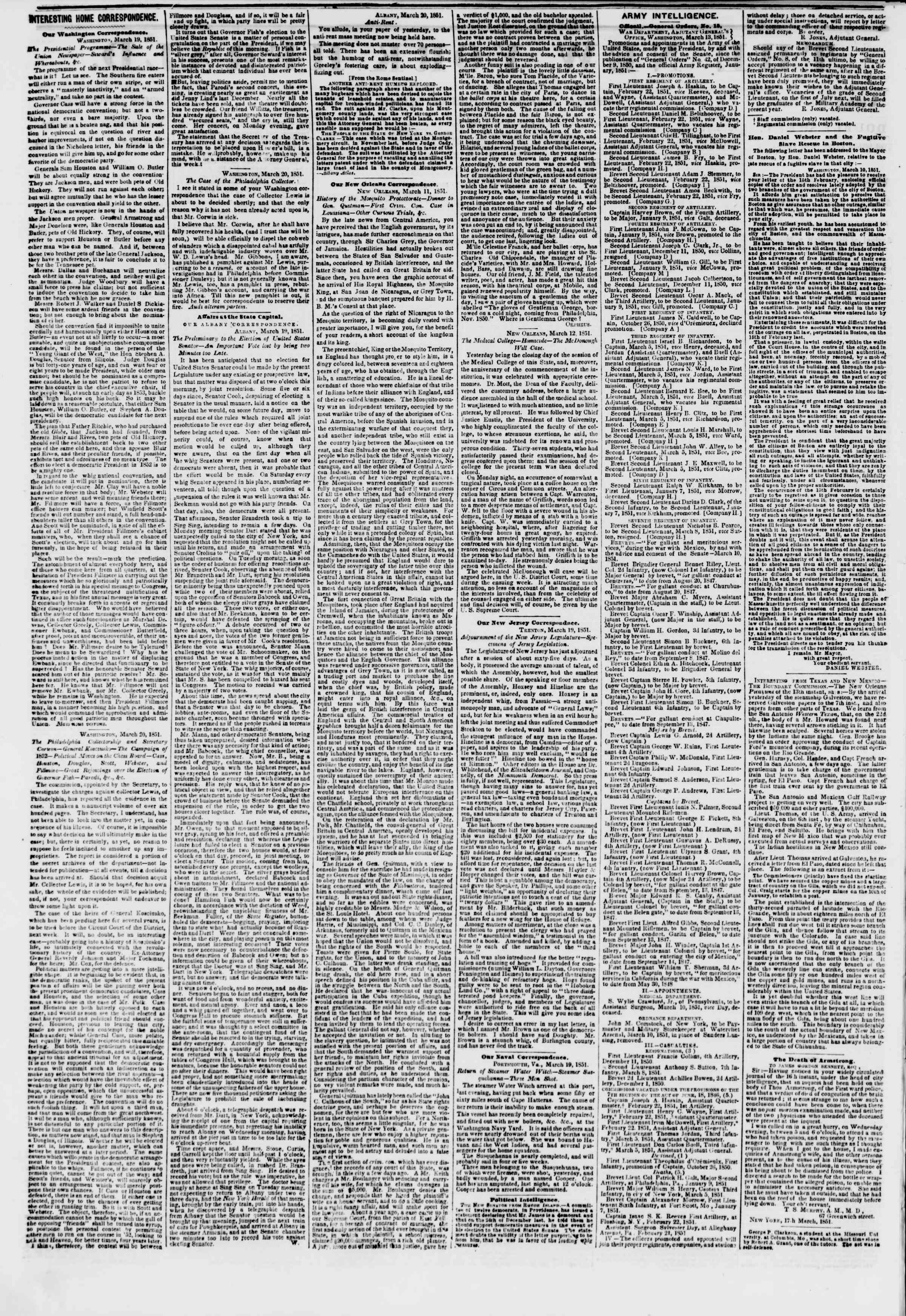Newspaper of The New York Herald dated March 22, 1851 Page 2