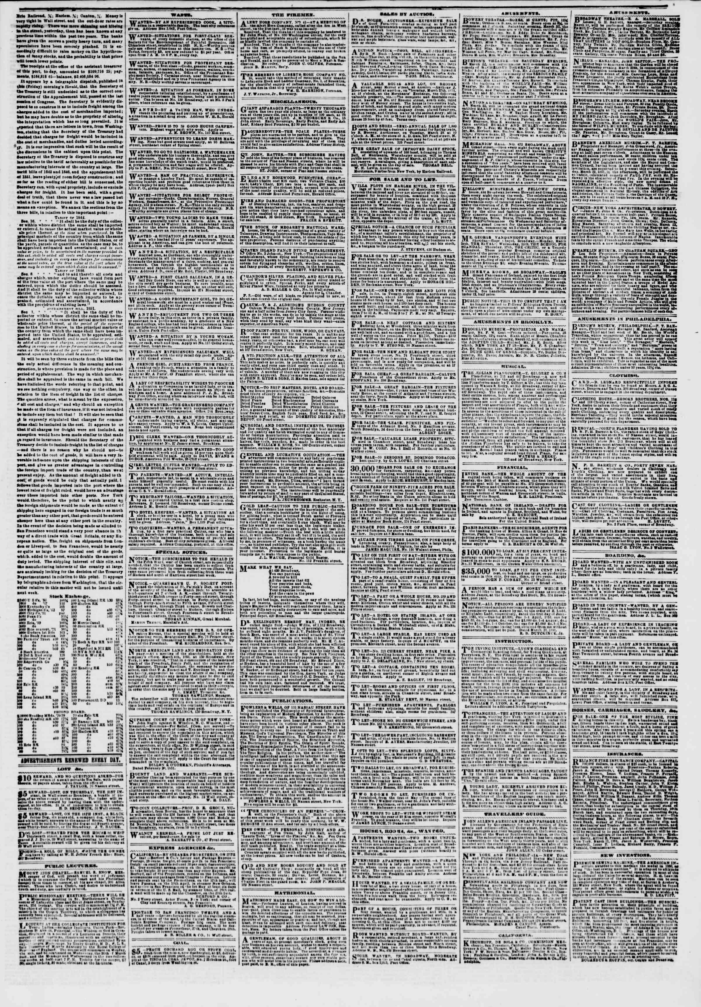 Newspaper of The New York Herald dated March 22, 1851 Page 5