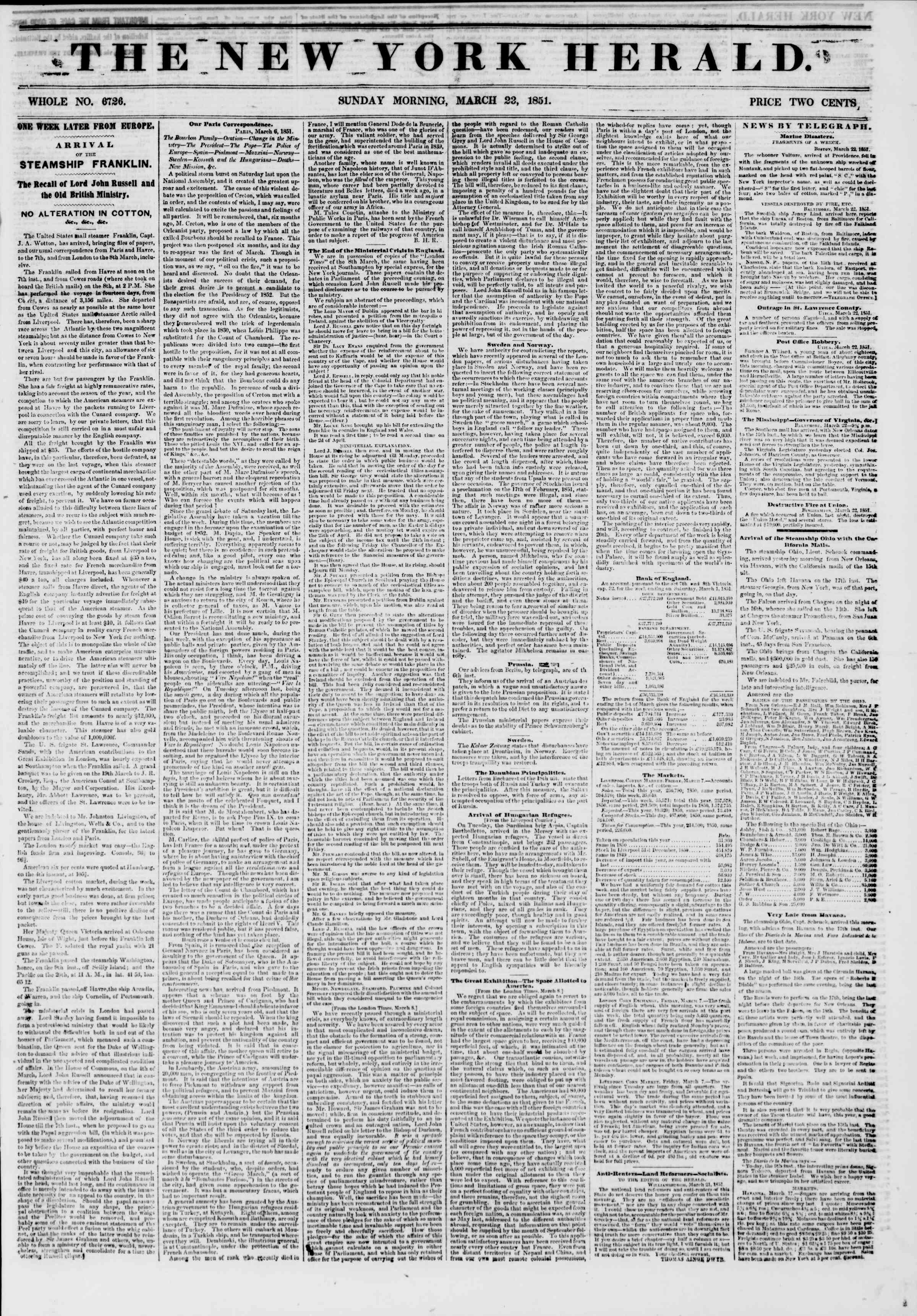 Newspaper of The New York Herald dated March 23, 1851 Page 1