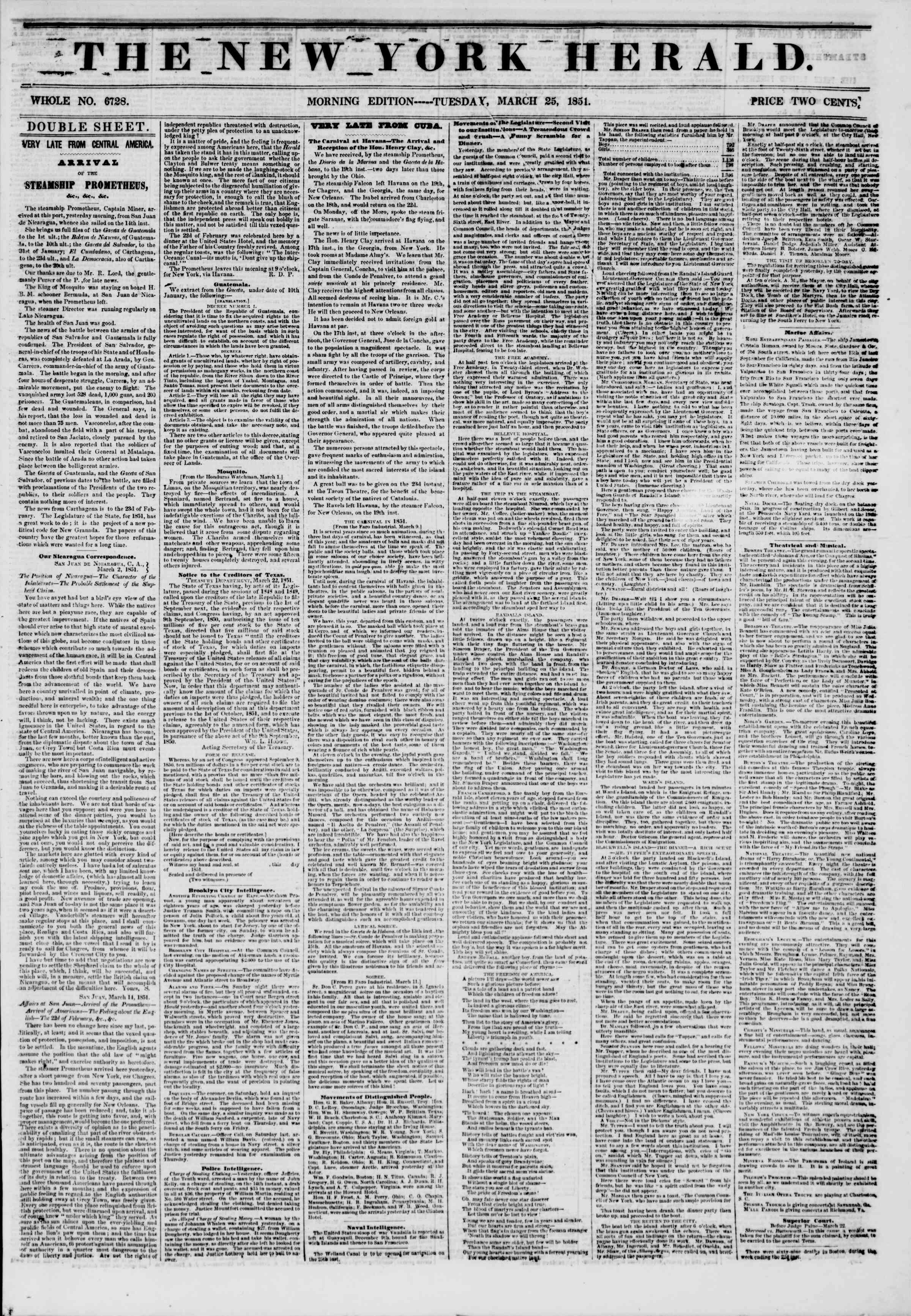 Newspaper of The New York Herald dated March 25, 1851 Page 1