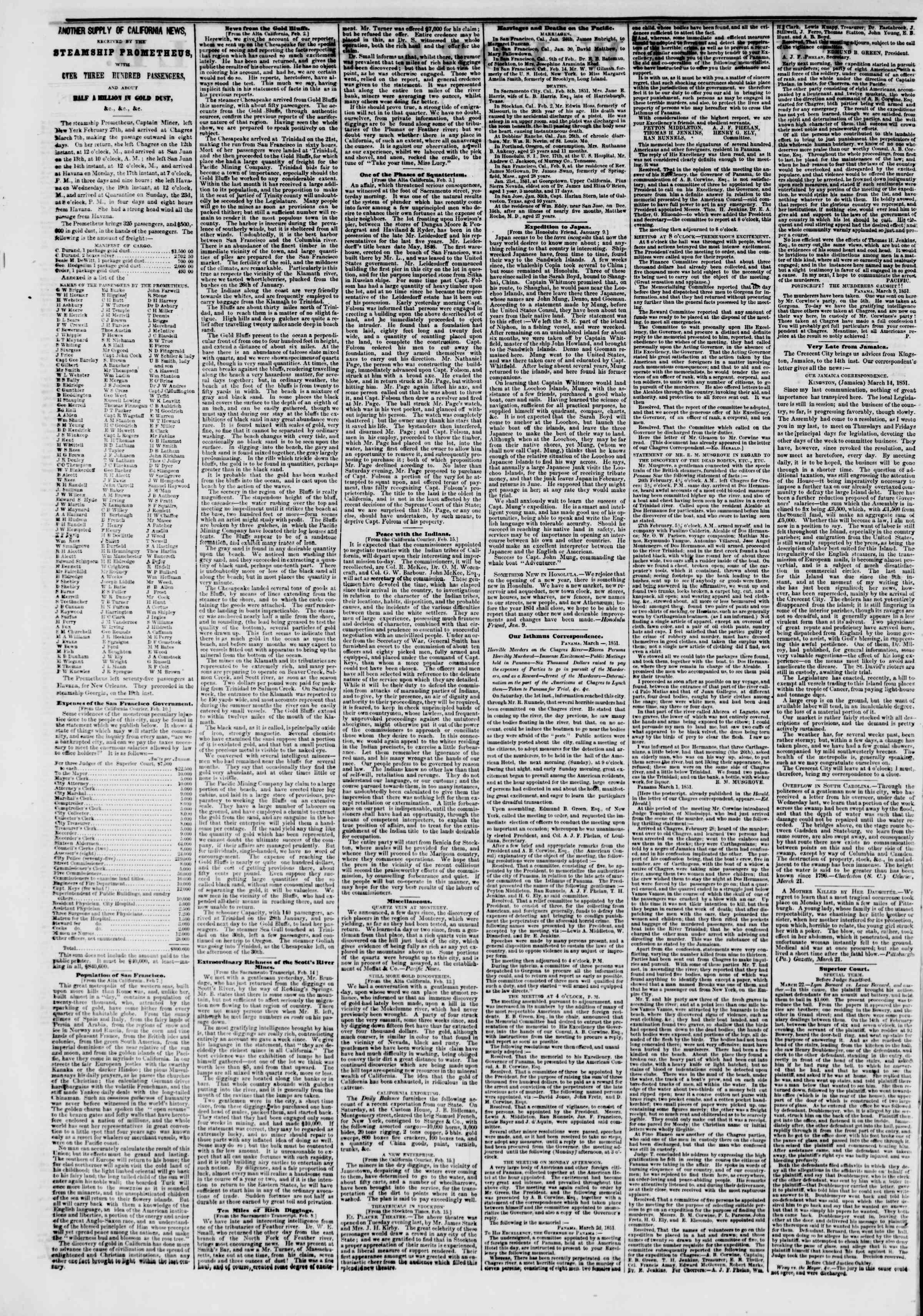 25 Mart 1851 tarihli The New York Herald Gazetesi Sayfa 2