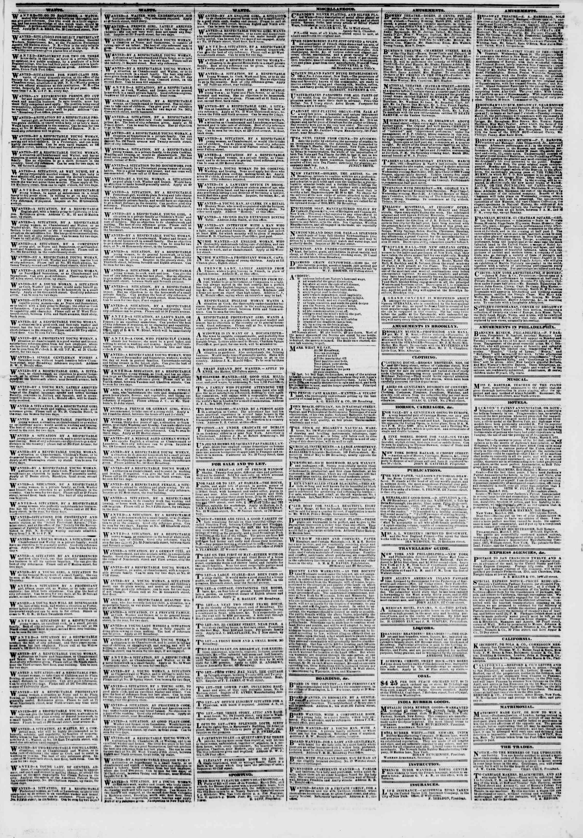 Newspaper of The New York Herald dated March 25, 1851 Page 5