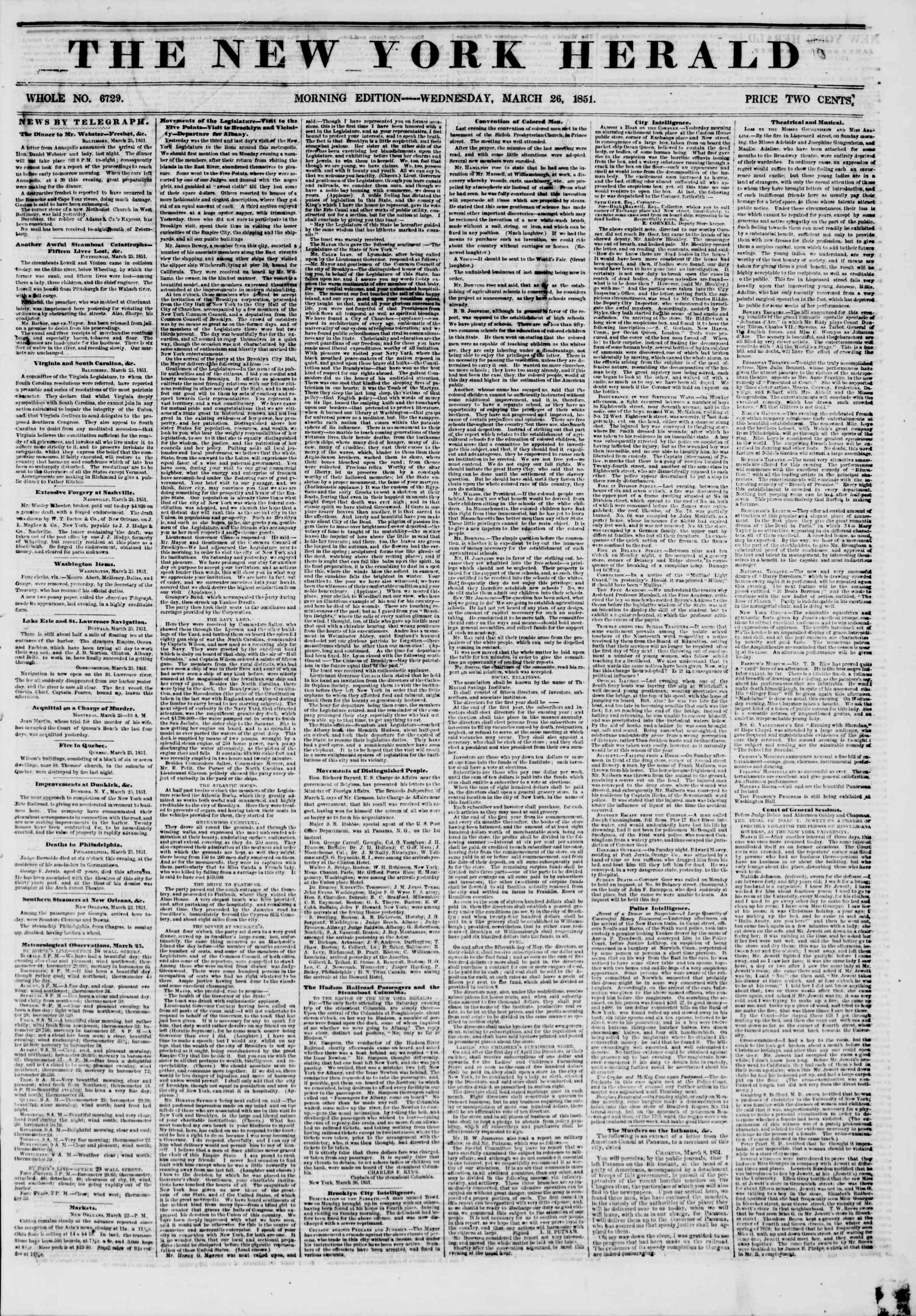 Newspaper of The New York Herald dated March 26, 1851 Page 1